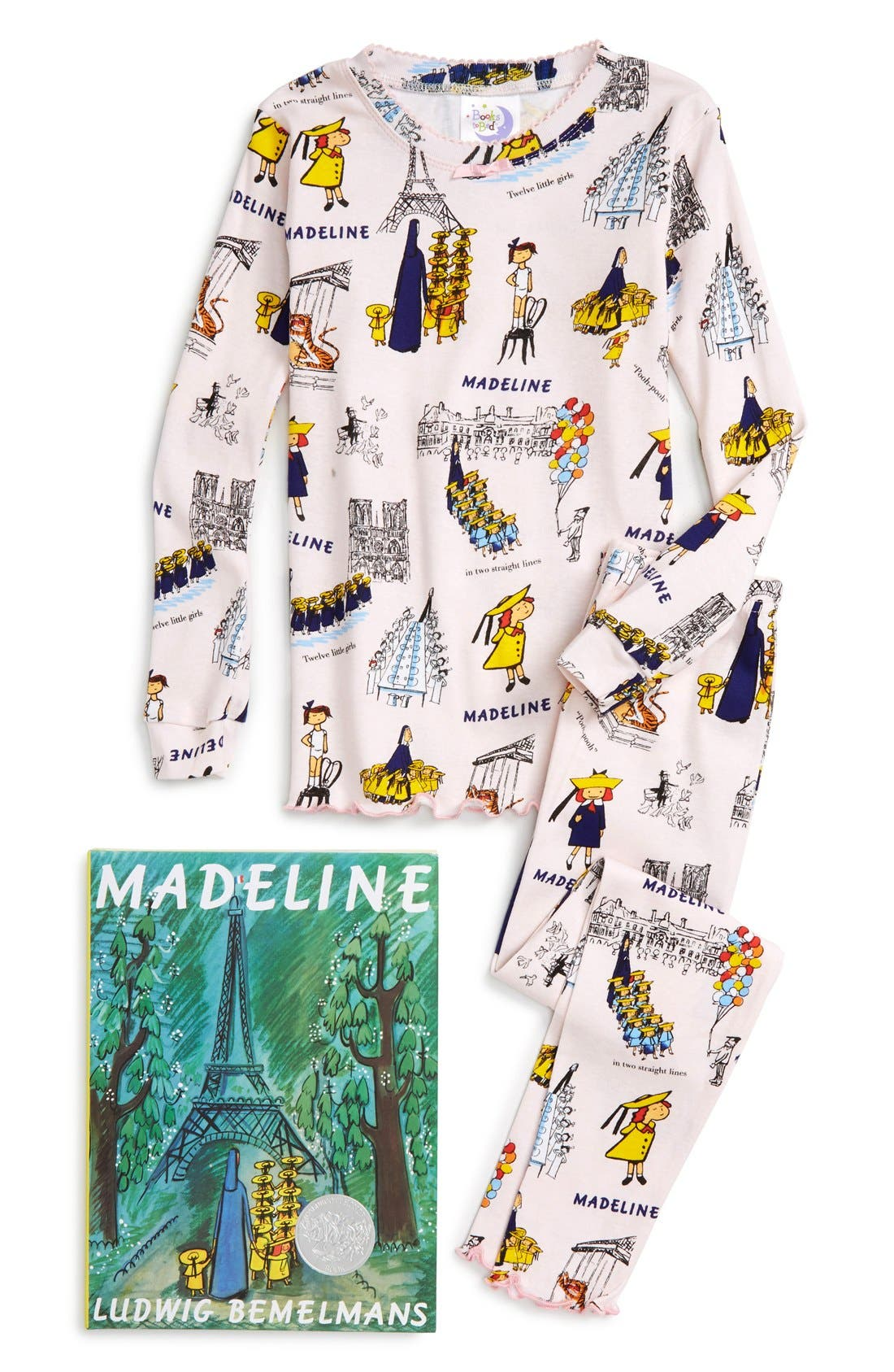 Main Image - Books to Bed Madeline Fitted Two-Piece Pajamas & Book Set (Toddler Girls, Little Girls & Big Girls)