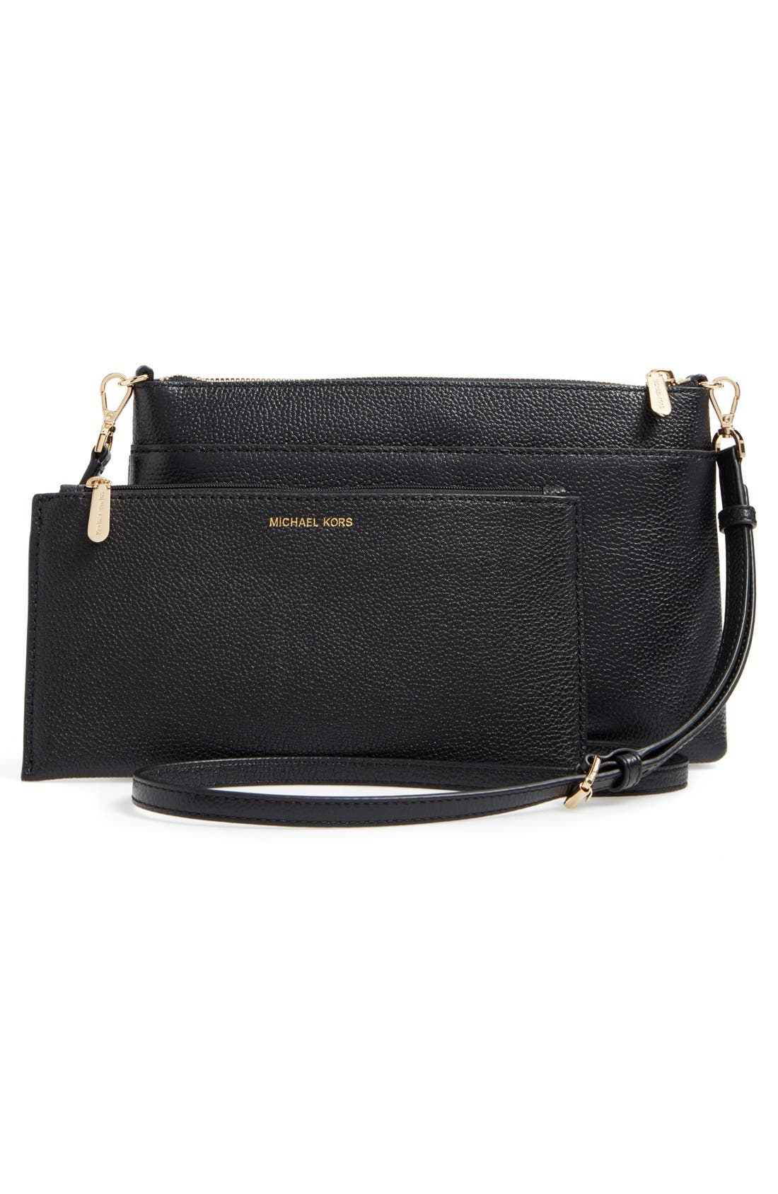 Large Mercer Leather Crossbody Bag,                             Alternate thumbnail 3, color,                             Black/ Gold