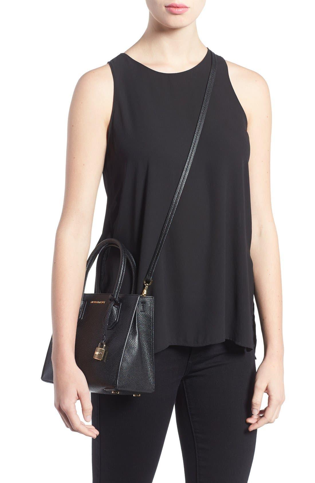 Mercer Leather Crossbody Bag,                             Alternate thumbnail 2, color,                             Black/ Gold