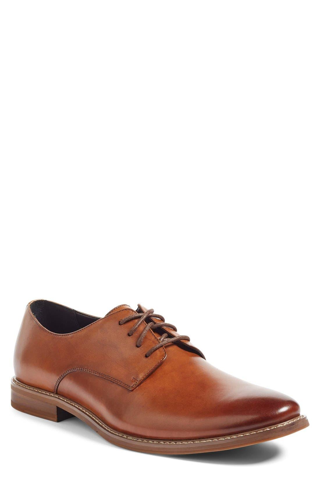 Everett Plain Toe Derby,                         Main,                         color, Tan Leather