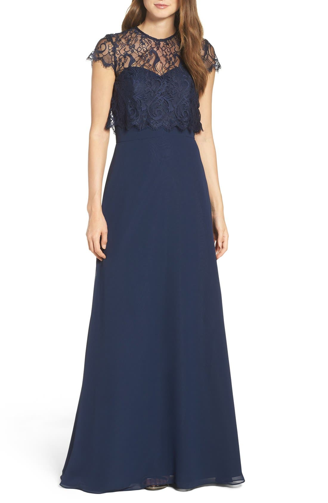 Strapless Chiffon A-Line Gown with Removable Lace Overlay,                         Main,                         color, Navy