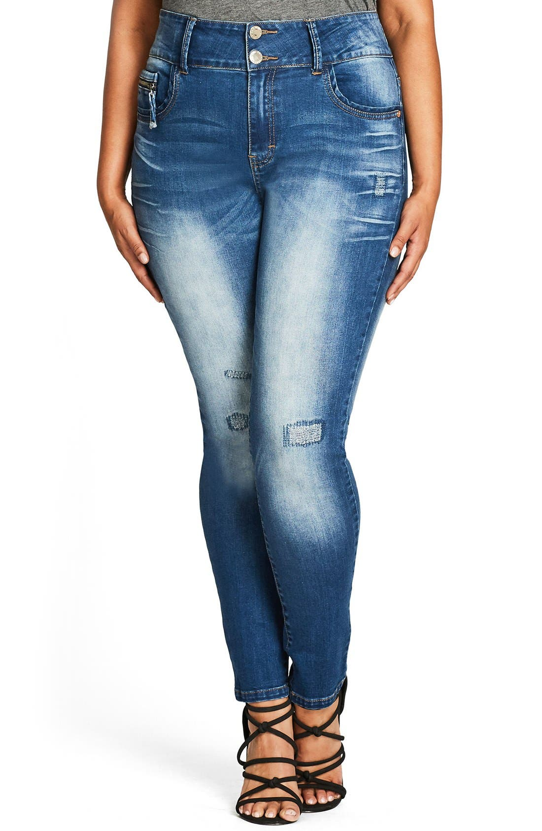 Alternate Image 1 Selected - City Chic Ocean Apple Stretch Skinny Jeans (Plus Size)