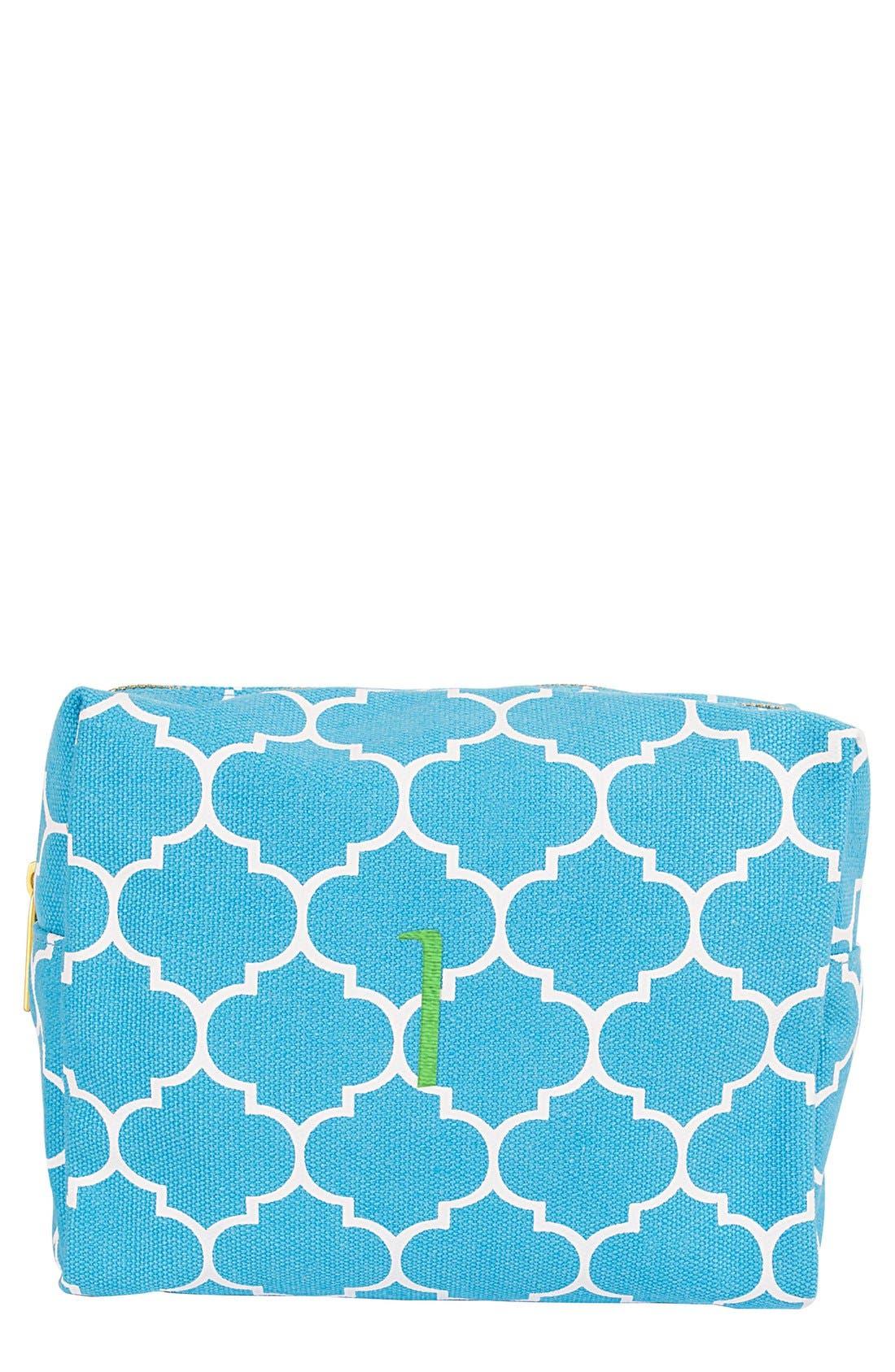 Monogram Cosmetics Bag,                         Main,                         color, Blue-I