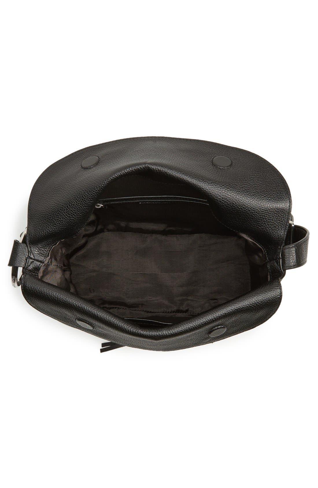 Finley Leather Hobo Bag,                             Alternate thumbnail 4, color,                             Black