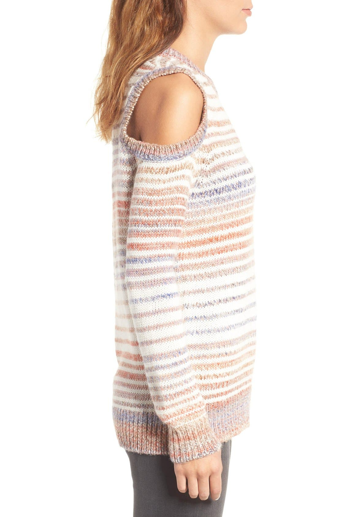 Alternate Image 3  - Rebecca Minkoff Page Stripe Cold Shoulder Sweater
