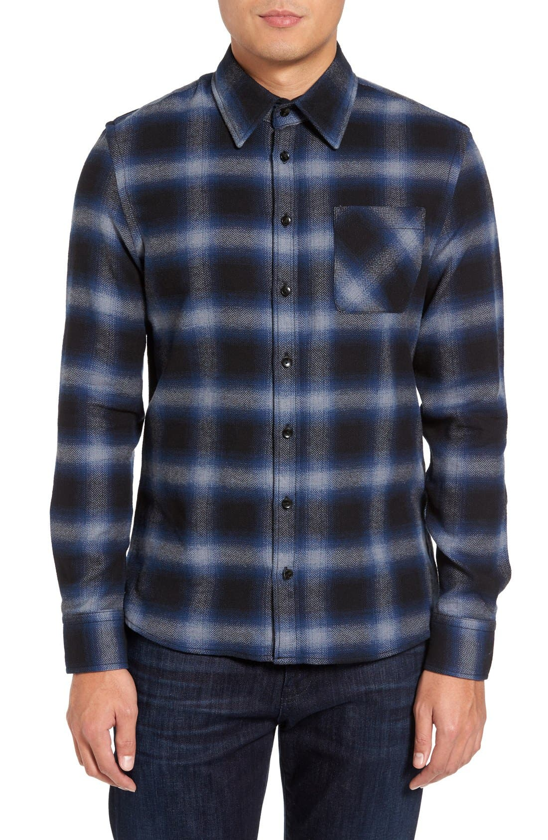 Michael Slim Fit Plaid Flannel Shirt,                             Main thumbnail 1, color,                             Blue