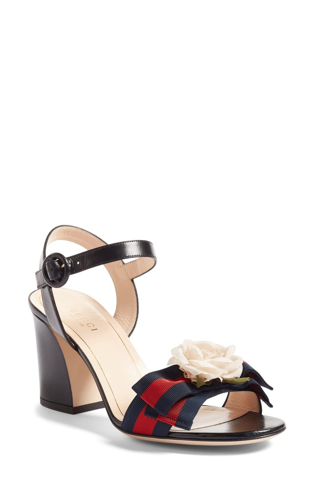 Cindi Quarter Strap Sandal,                             Main thumbnail 1, color,                             Black Leather
