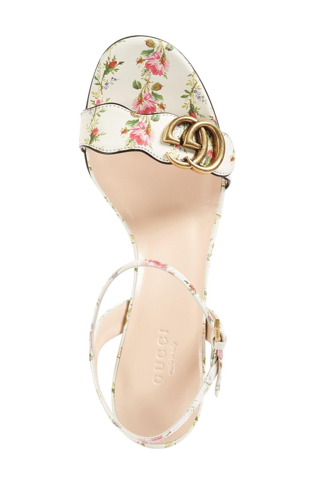 GG Marmont Block Heel Sandal,                             Alternate thumbnail 3, color,                             White Floral