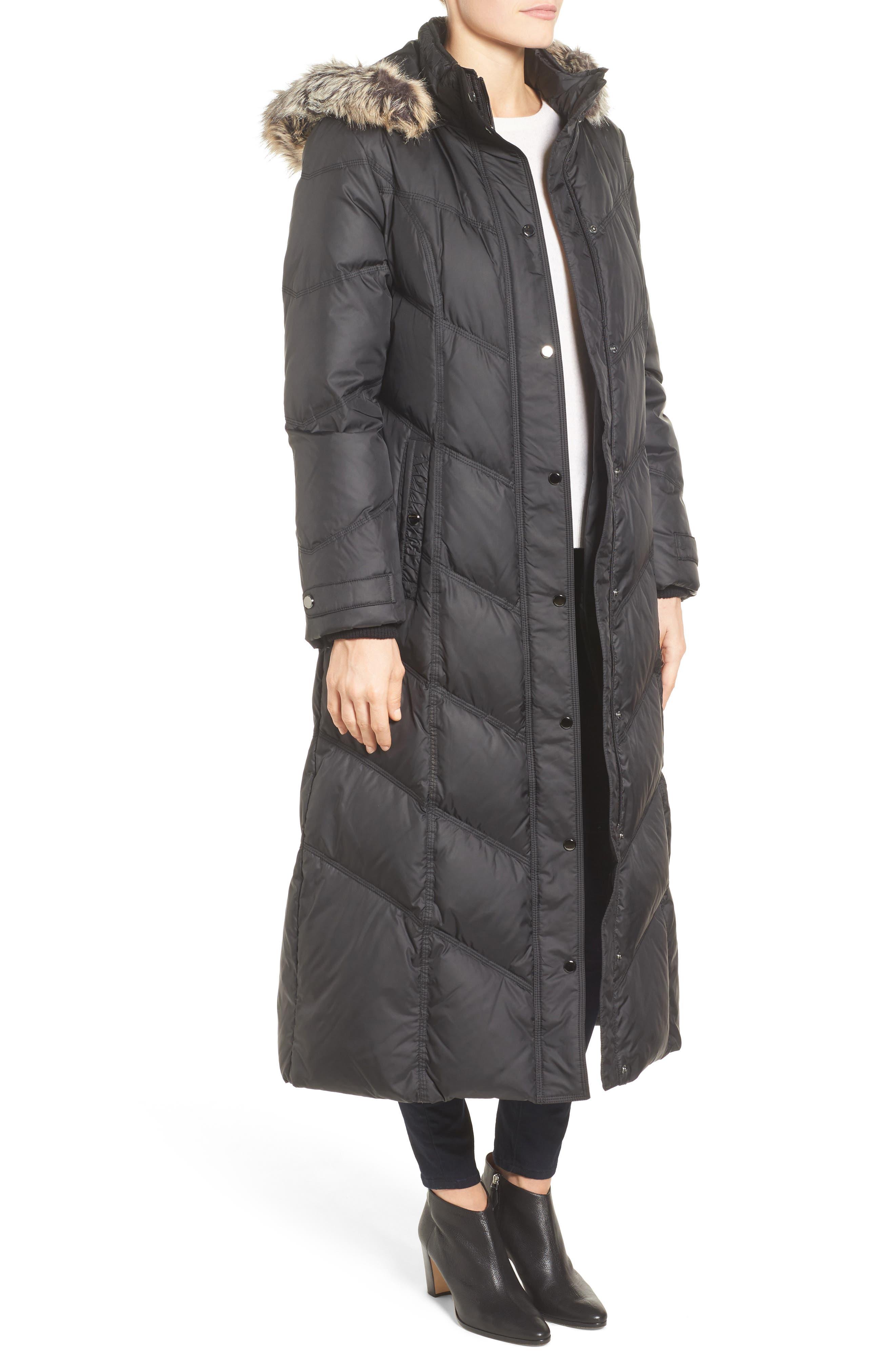 Alternate Image 3  - London Fog Faux Fur Trim Quilted Maxi Coat