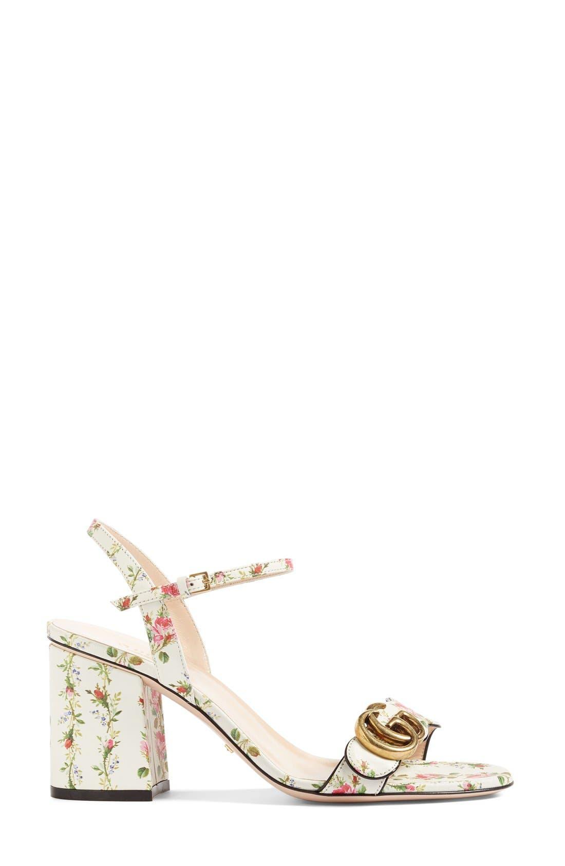 GG Marmont Block Heel Sandal,                             Alternate thumbnail 4, color,                             White Floral