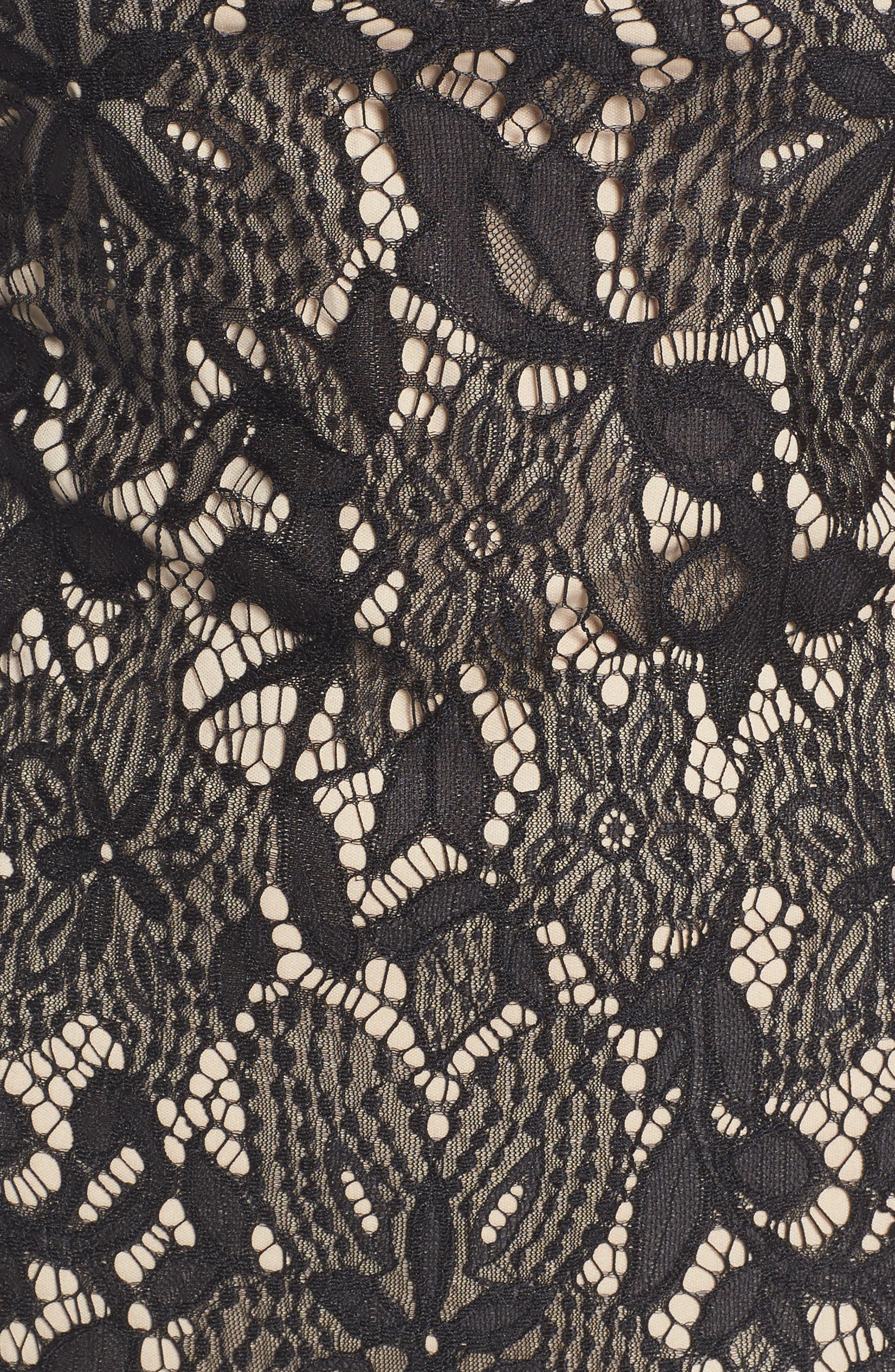 Scallop Lace Dress,                             Alternate thumbnail 5, color,                             Black