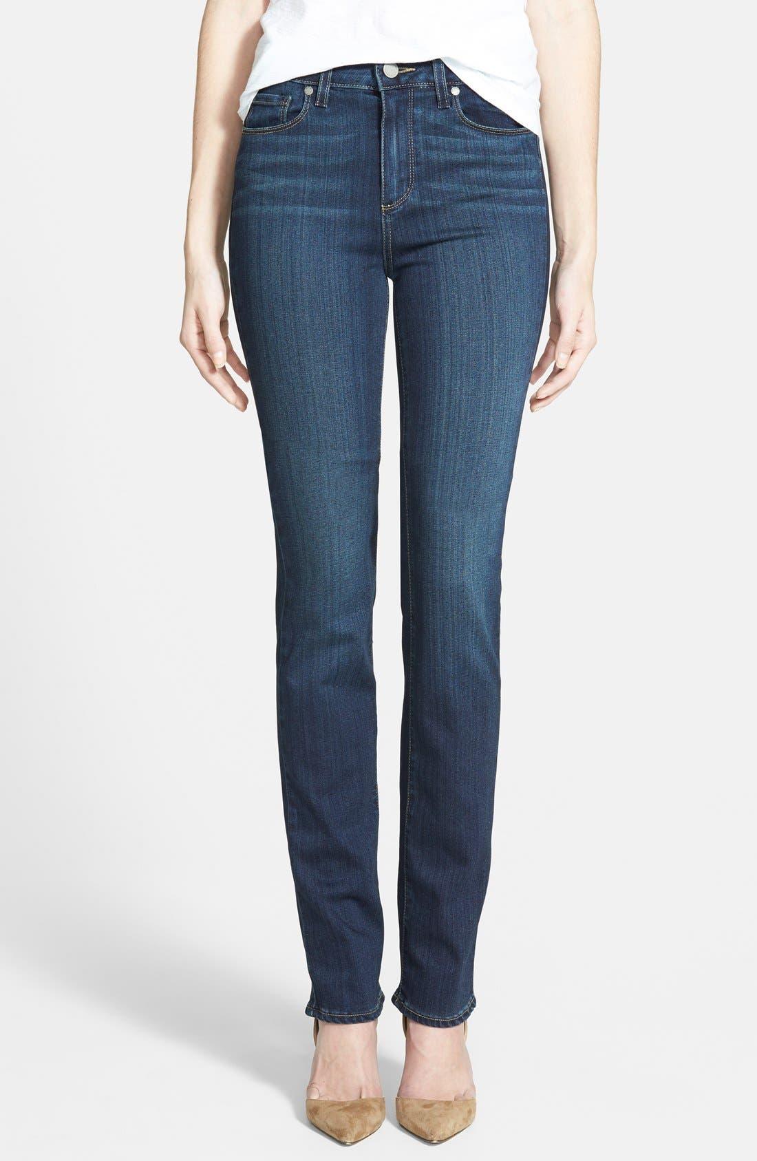 Main Image - PAIGE 'Transcend - Hoxton' High Rise Straight Leg Jeans (Nottingham Blue)