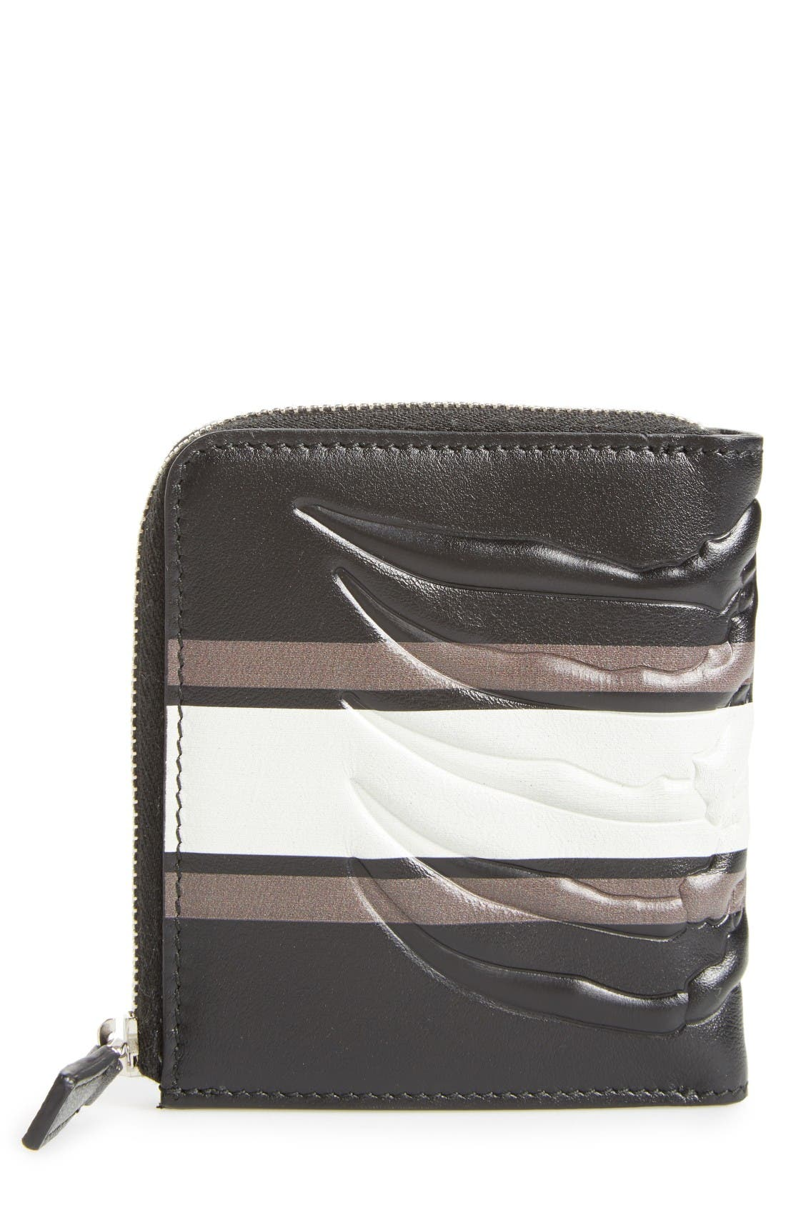 Leather Half Zip Wallet,                             Main thumbnail 1, color,                             Black/ Grey/ Off White