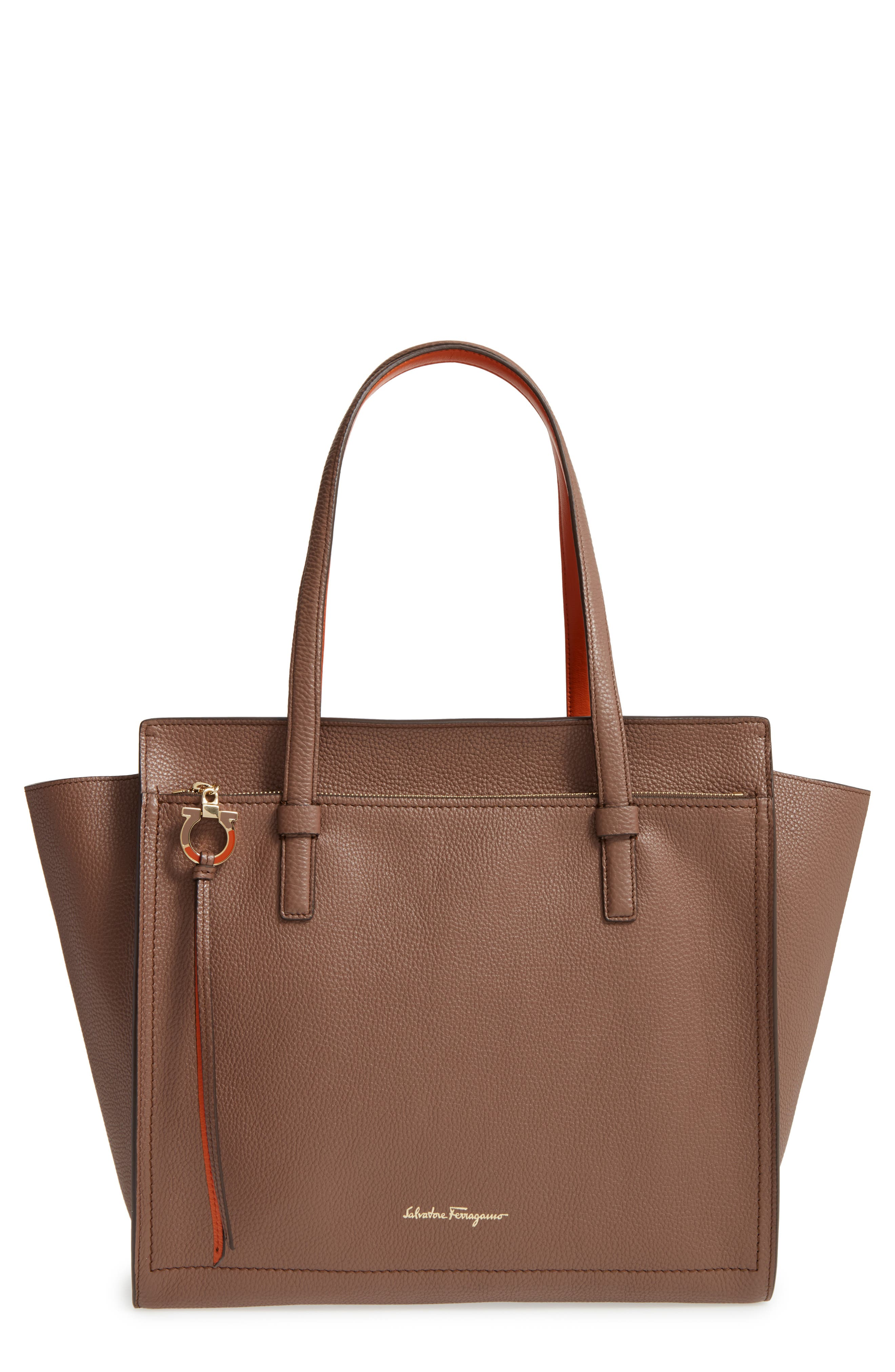 Alternate Image 1 Selected - Salvatore Ferragamo Large Amy Leather Tote
