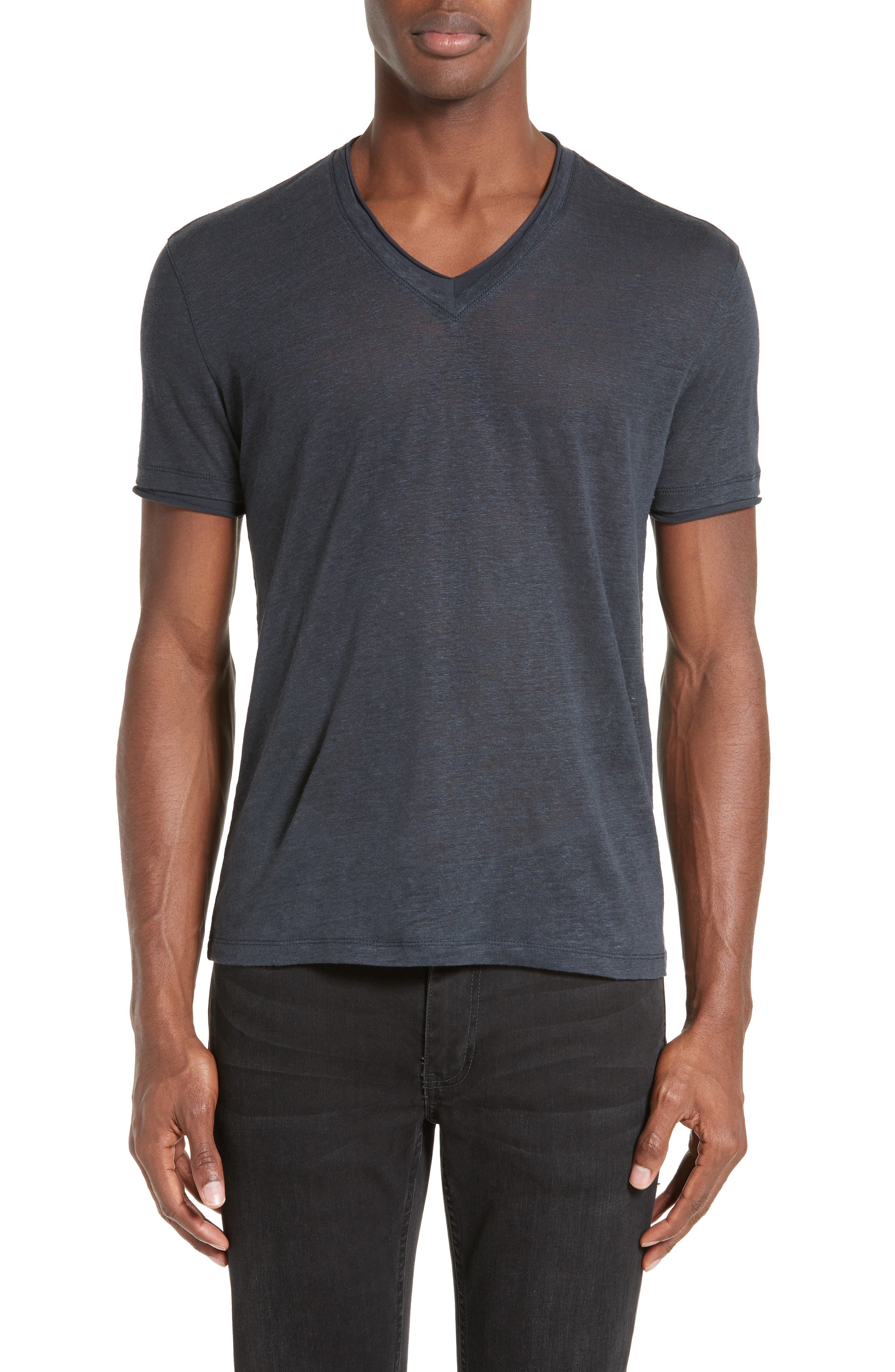 John Varvatos Collection V-Neck Linen T-Shirt