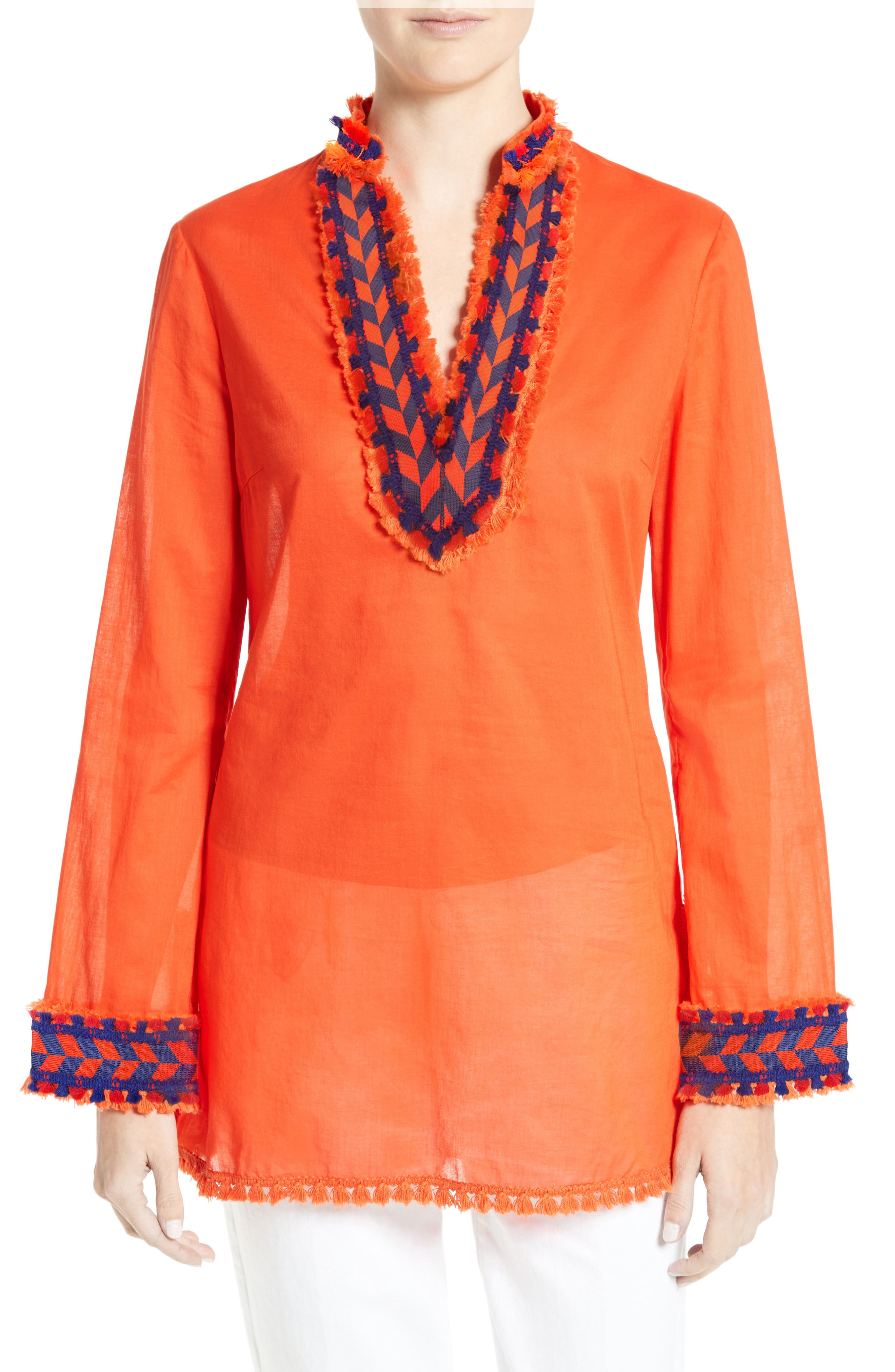 Alternate Image 1 Selected - Tory Burch Tory Embellished Sheer Poplin Tunic
