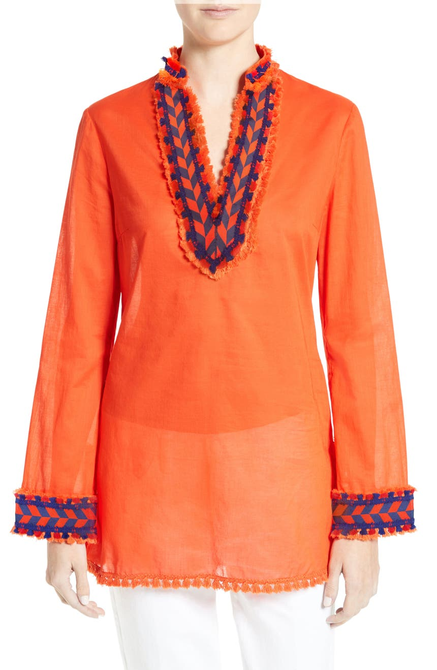 Main Image - Tory Burch Tory Embellished Sheer Poplin Tunic