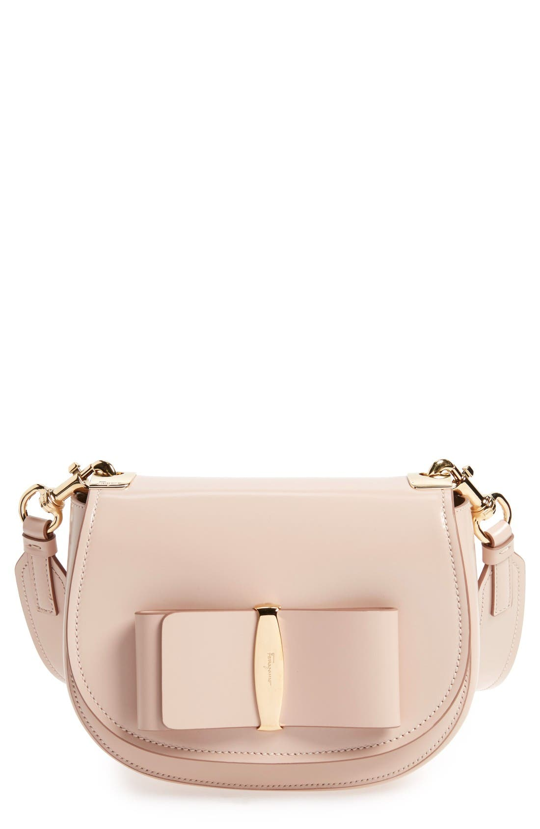 Vara Leather Crossbody Bag,                         Main,                         color, New Bisque
