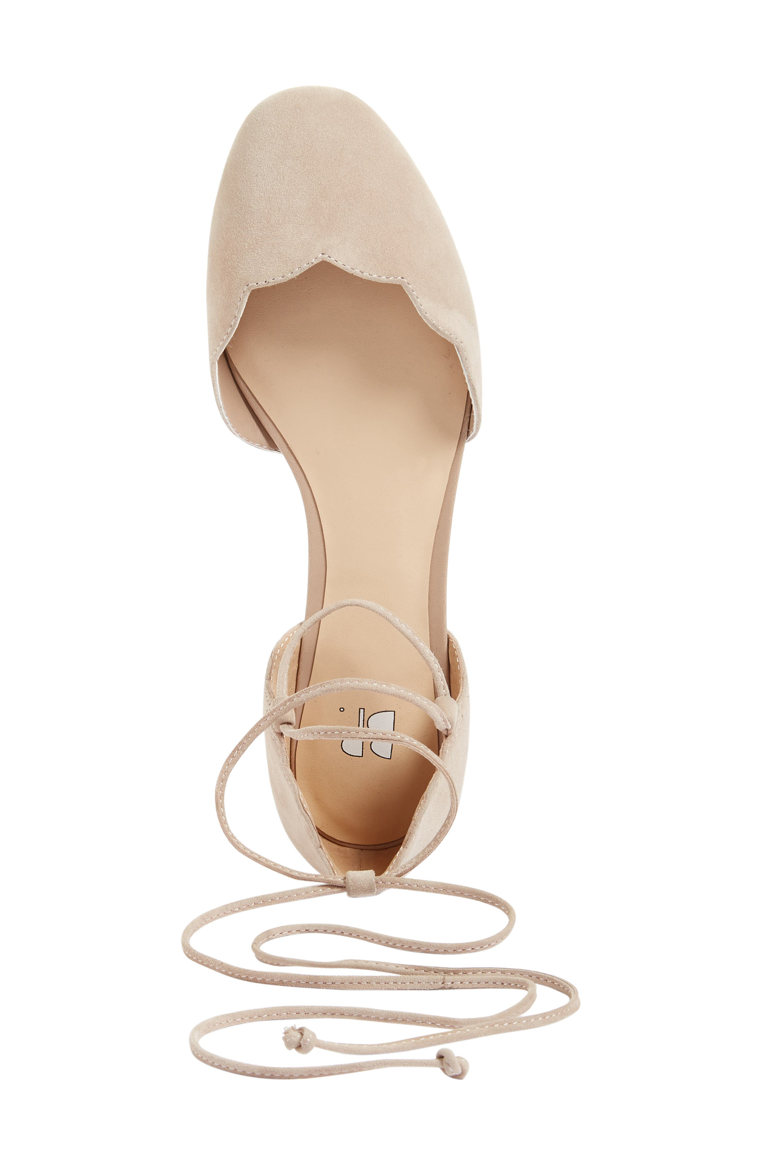 Sophie Lace-Up Flat,                             Alternate thumbnail 4, color,                             Blush Suede