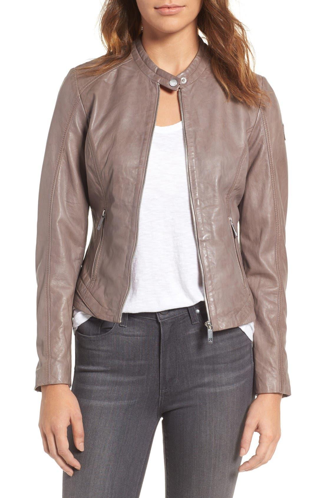 Main Image - Mauritius Leather Lambskin Leather Moto Jacket