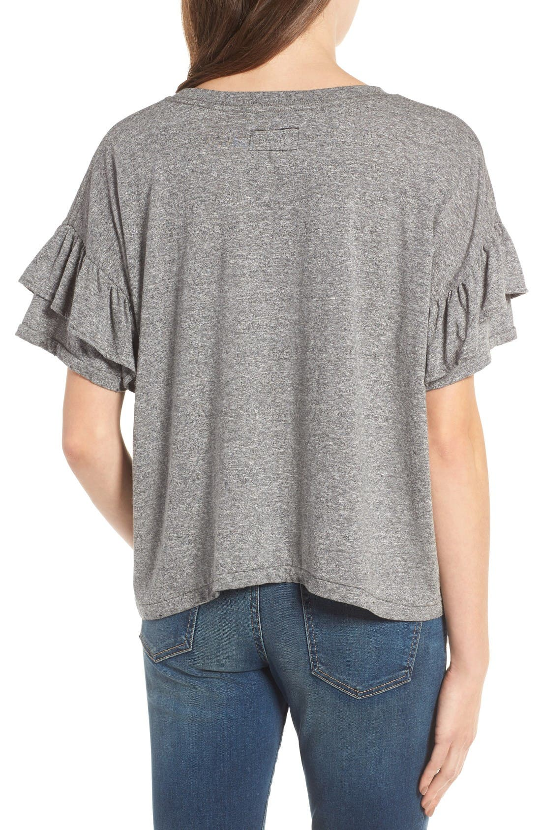 The Roadie Ruffle Tee,                             Alternate thumbnail 2, color,                             Heather Grey