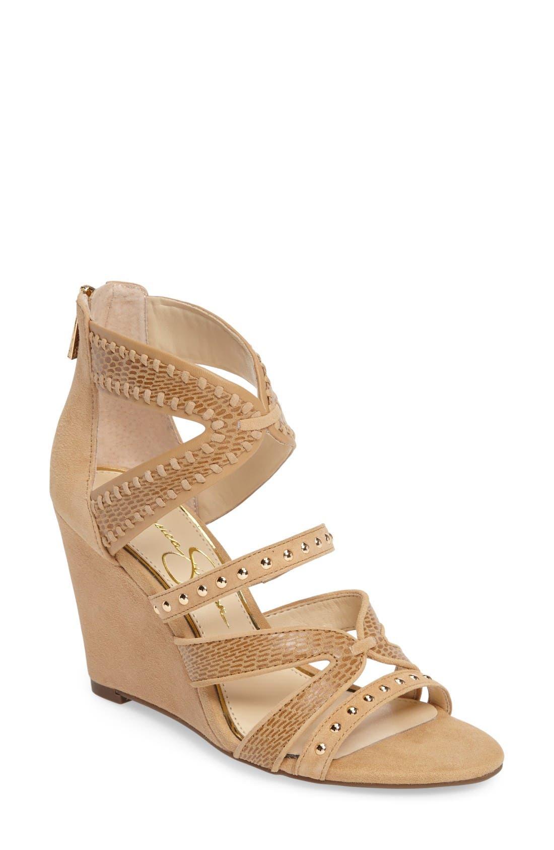 Jessica Simpson Zenolia Strappy Embellished Wedge (Women)