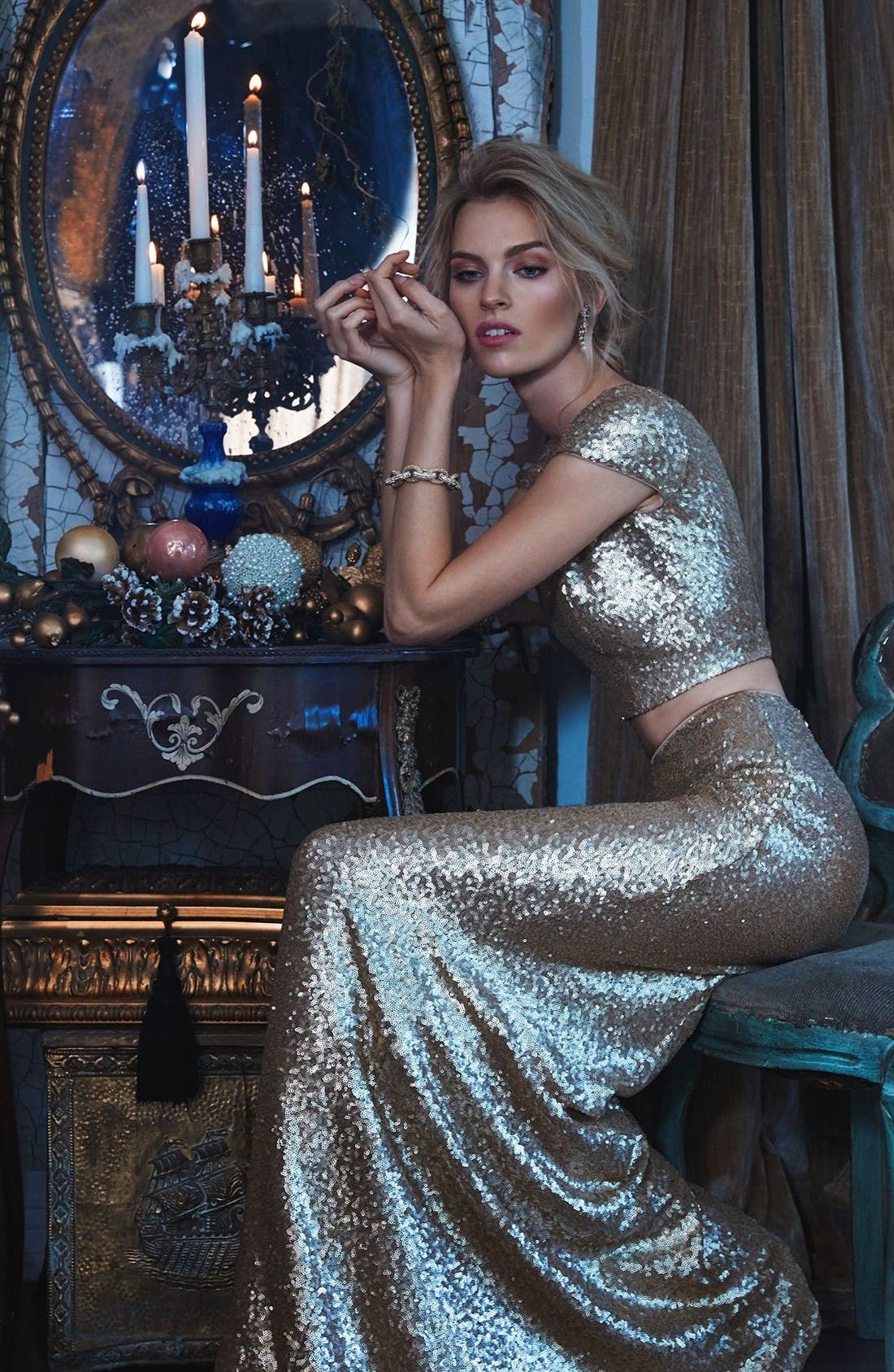 Alternate Image 2  - Dress the Population Cara Sequin Two-Piece Gown