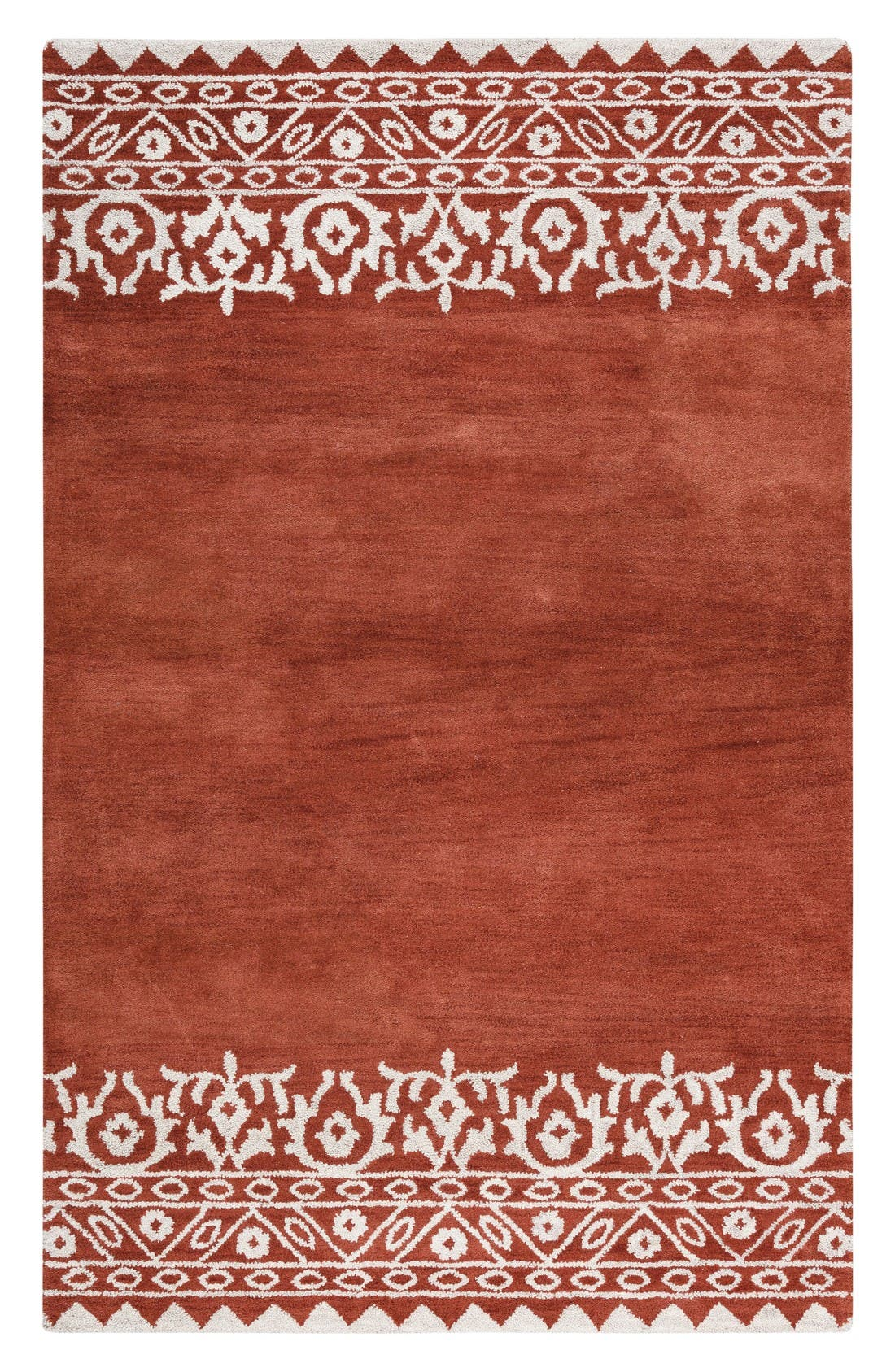 Framed Medallion Hand Tufted Wool Area Rug,                             Main thumbnail 1, color,                             Rust
