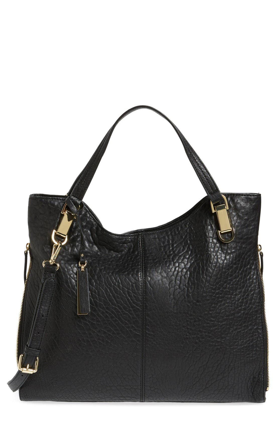 'Riley' Leather Tote,                         Main,                         color, Black