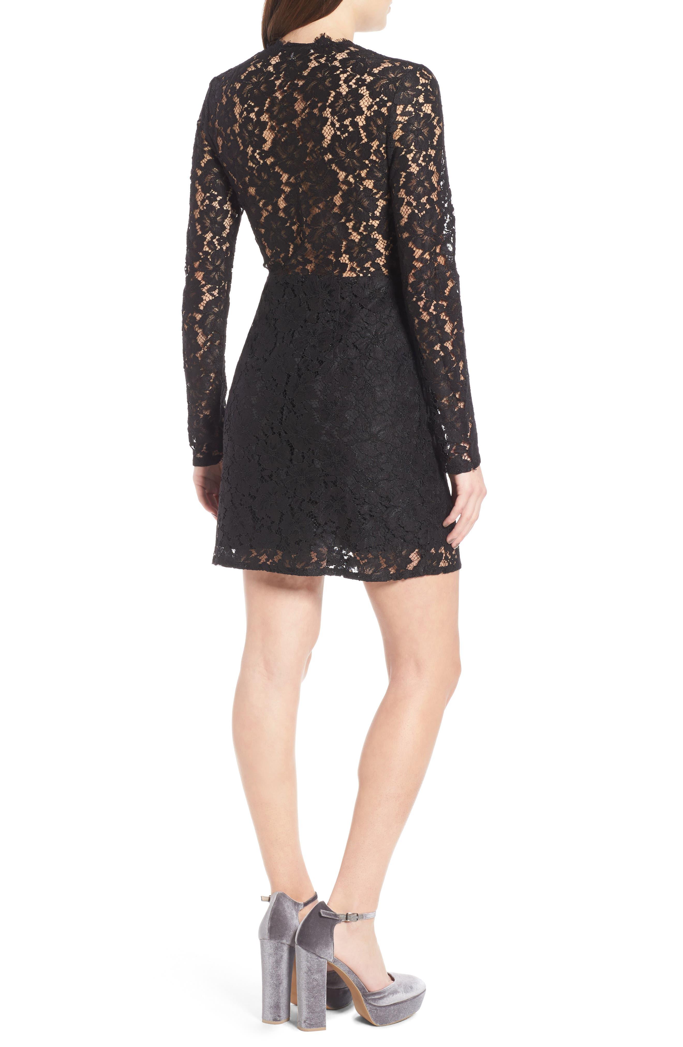 Say It Out Loud Lace Dress,                             Alternate thumbnail 6, color,                             Black