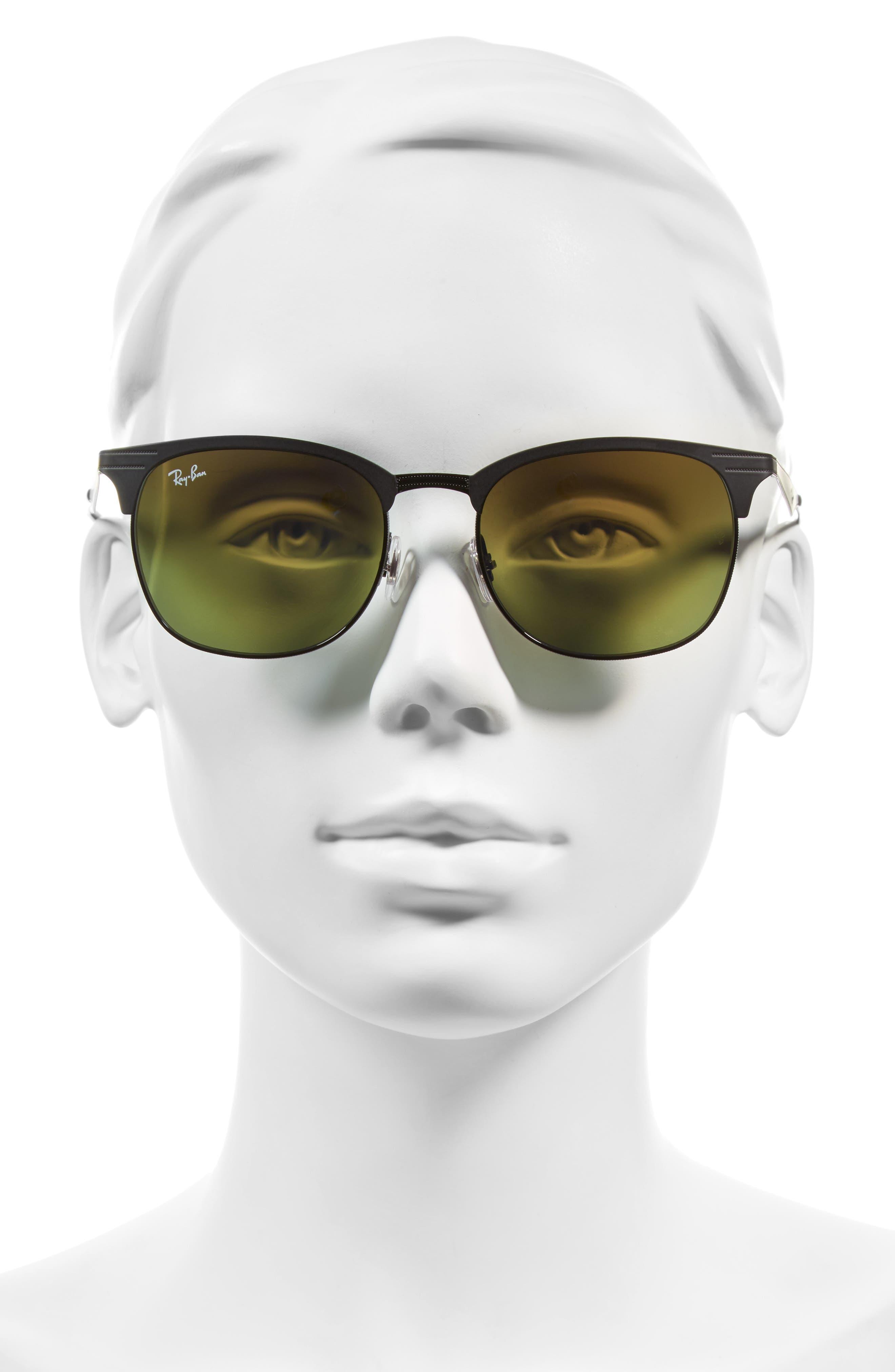 Highstreet 53mm Sunglasses,                             Alternate thumbnail 2, color,                             Black/ Blue