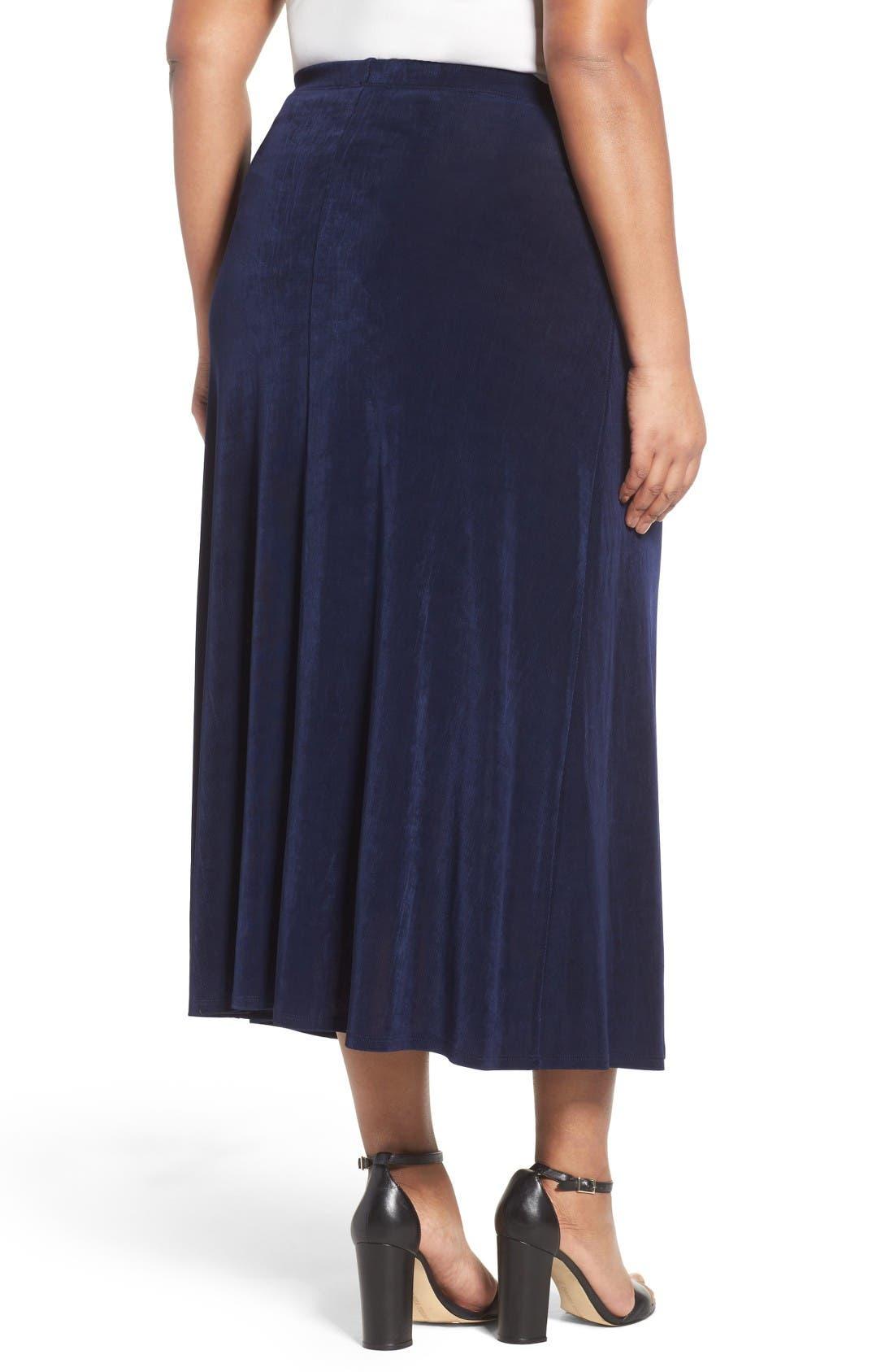 Long A-Line Skirt,                             Alternate thumbnail 2, color,                             Navy