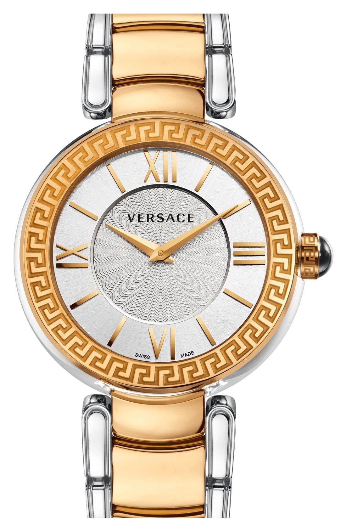 Main Image - Versace 'Leda' Guilloche Dial Bracelet Watch, 38mm