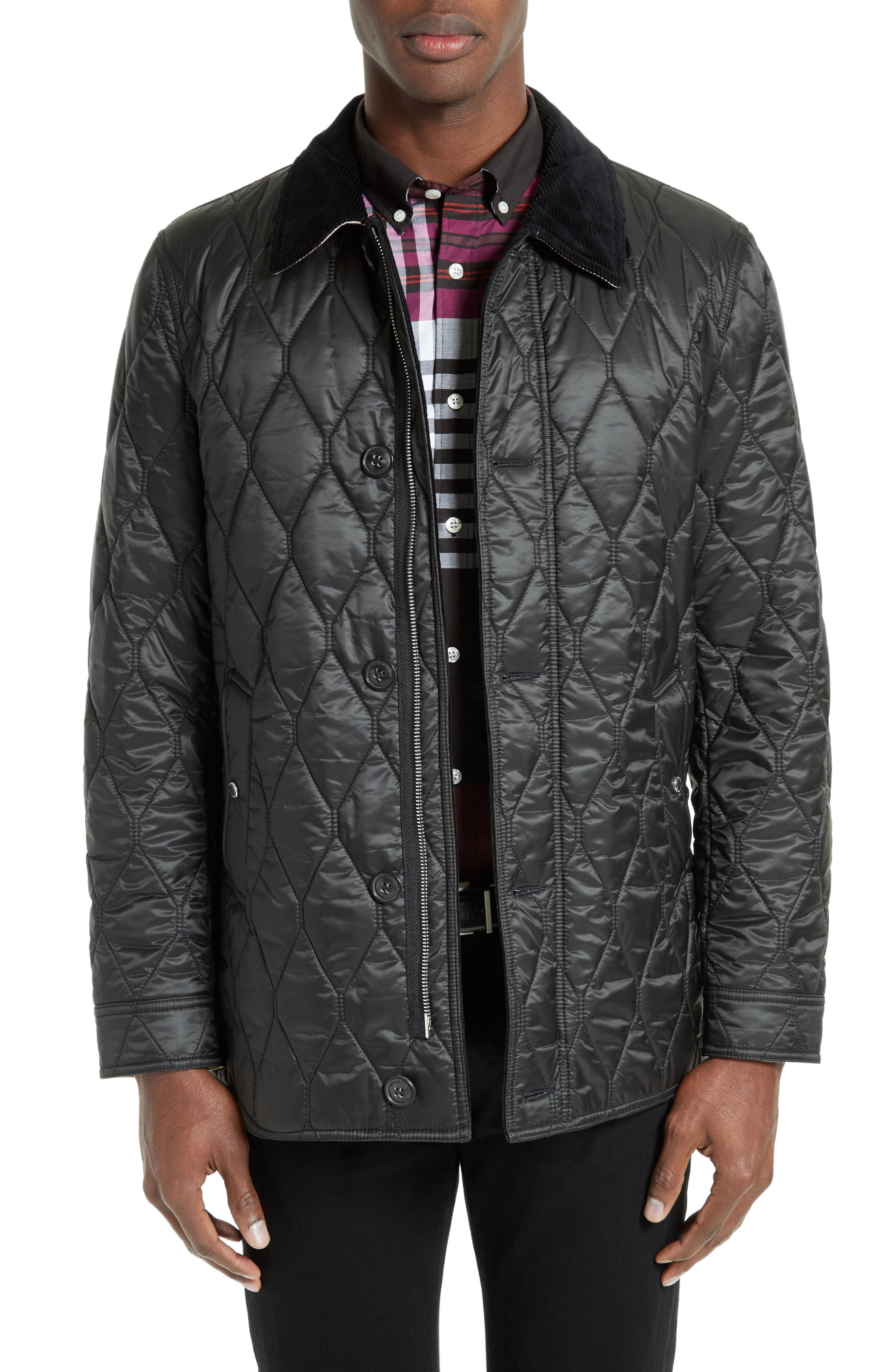 Gransworth Leather Elbow Patch Quilted Jacket,                             Main thumbnail 1, color,                             Black