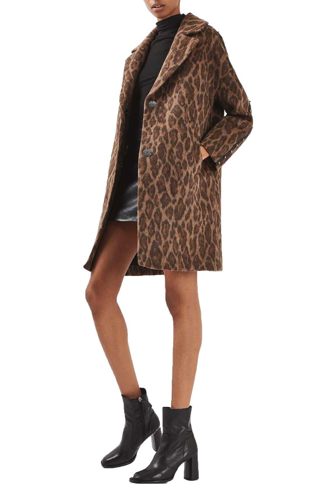 Main Image - Topshop Stud Trim Leopard Print Coat