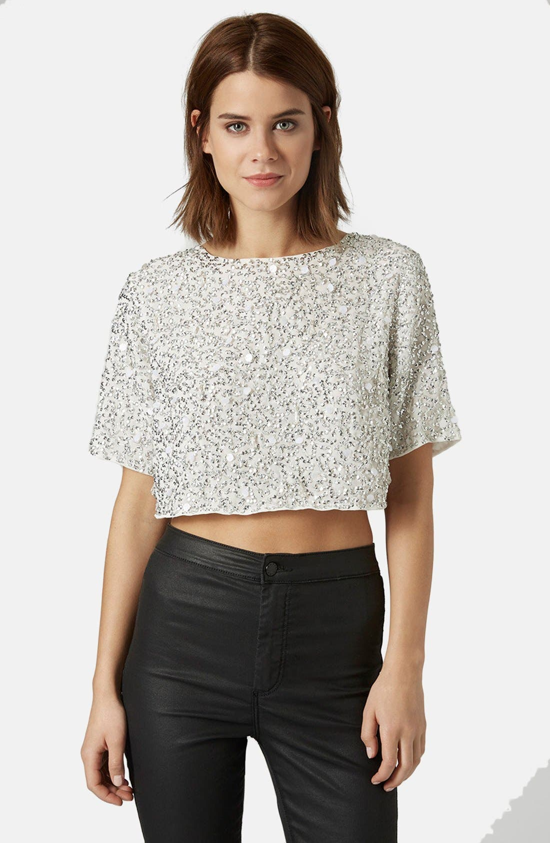 Sequin Crop Tee,                         Main,                         color, White