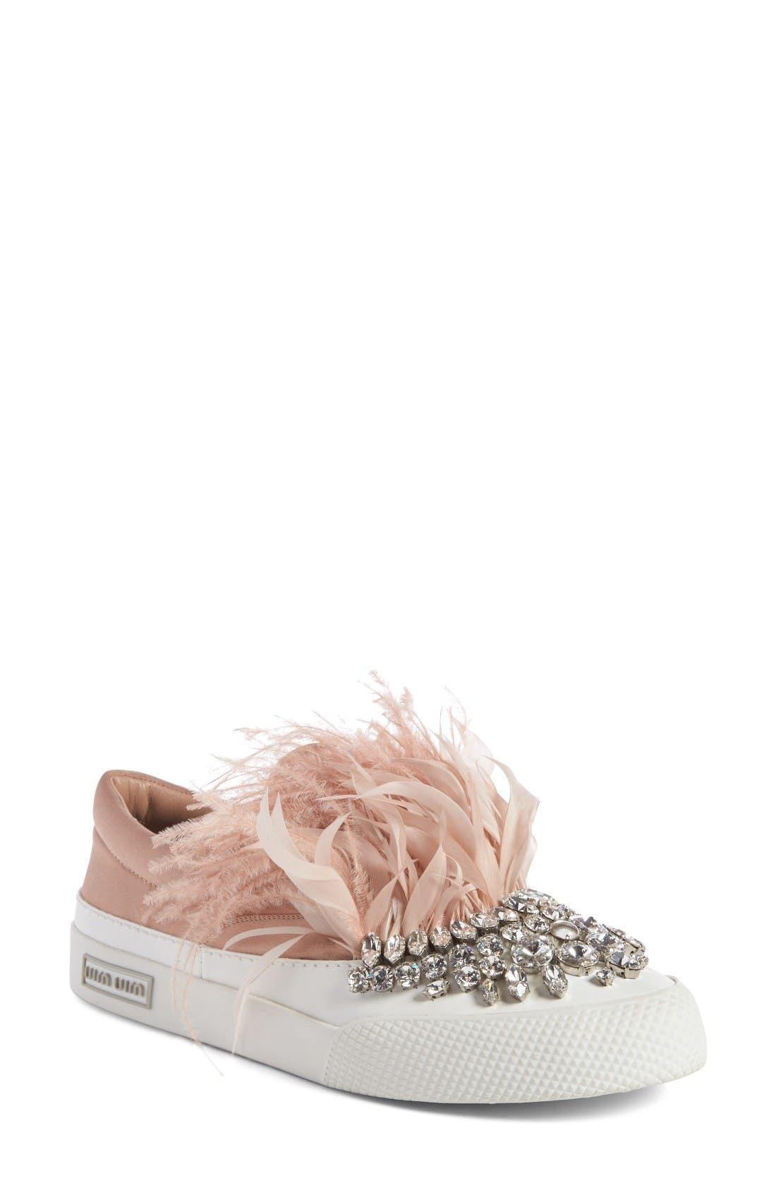 Miu Miu Embellished Feather Slip-On Sneaker (Women)