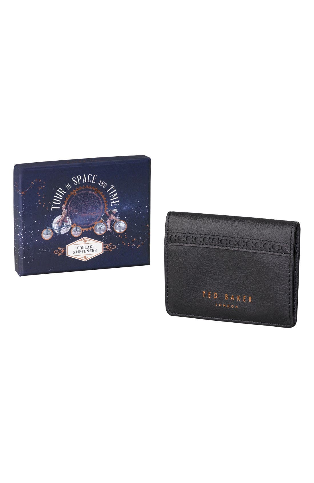 Main Image - Ted Baker London Set of 6 Collar Stays in Brogued Pouch
