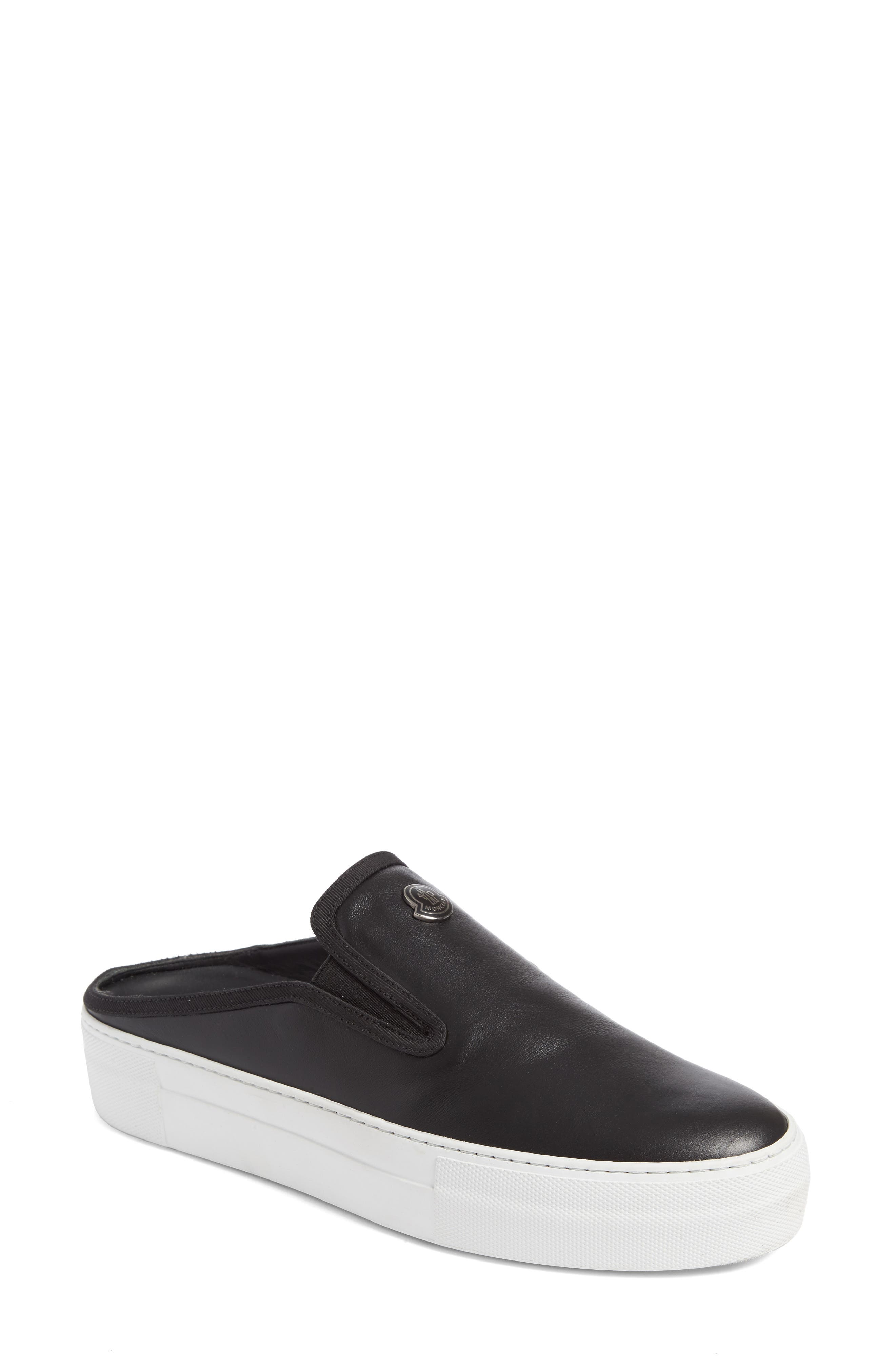 Tiphanie Backless Platform Sneaker,                             Main thumbnail 1, color,                             Black Leather