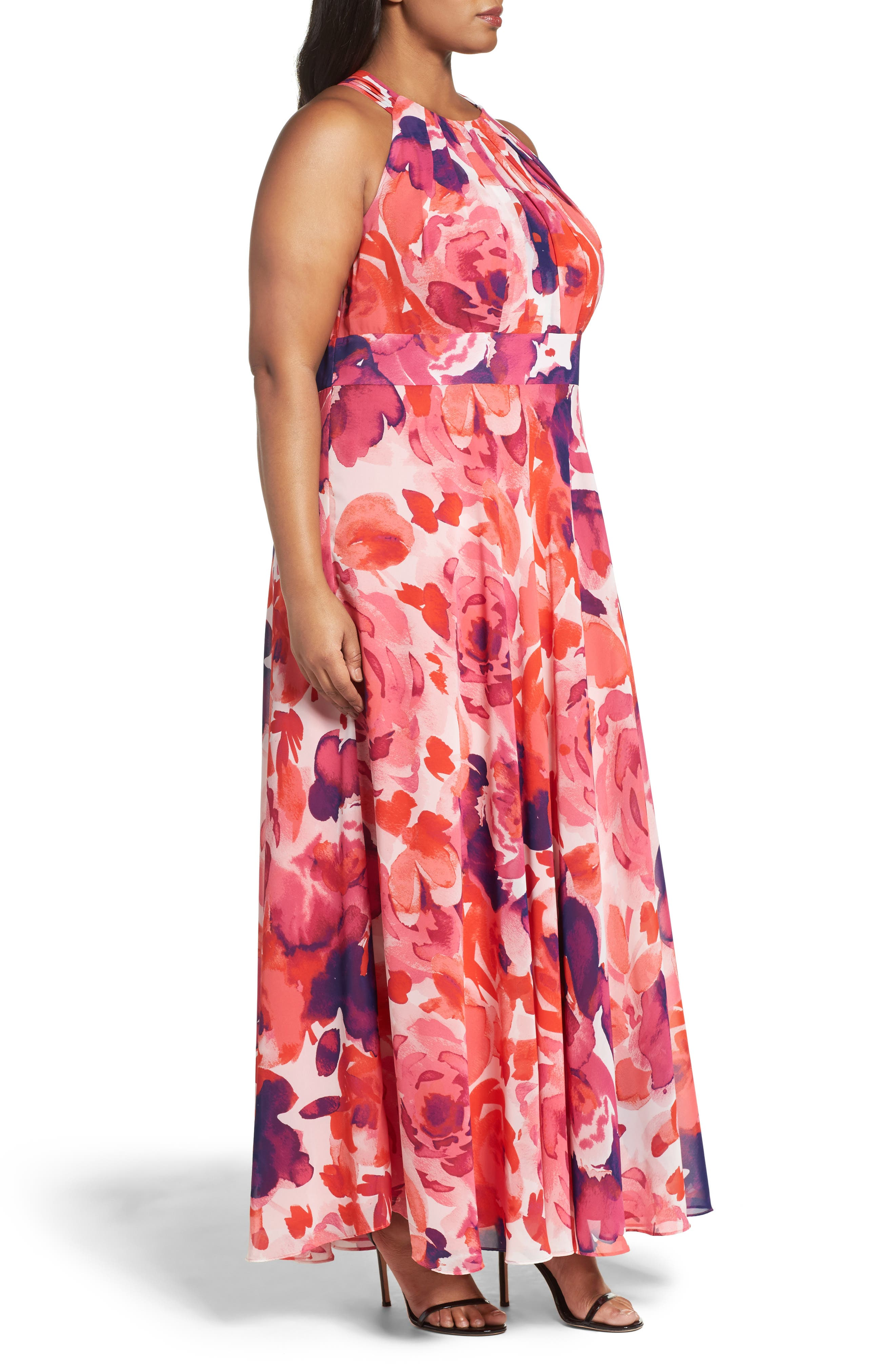 Floral Print Halter Maxi Dress,                             Alternate thumbnail 4, color,                             Pink