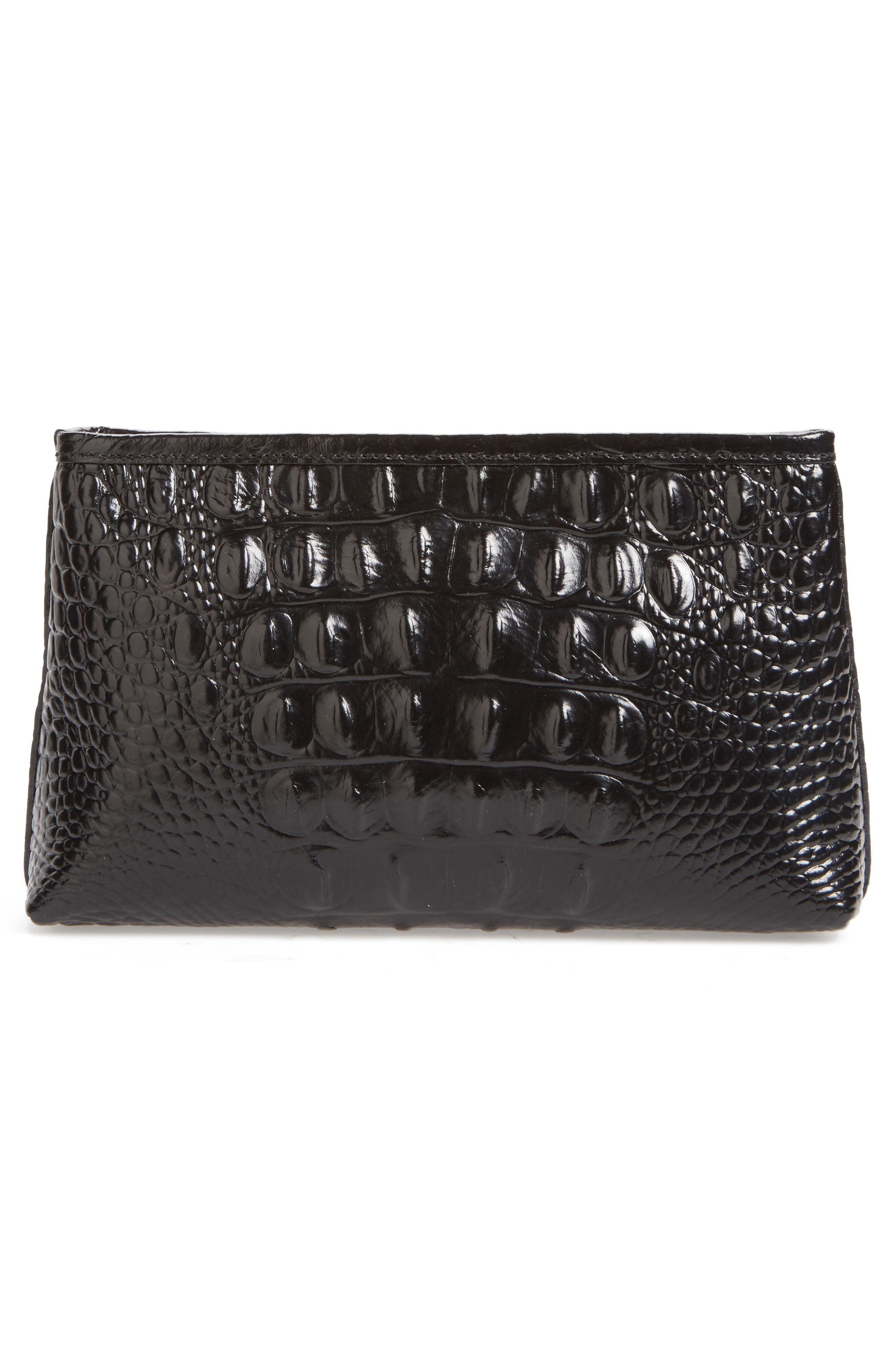 Marney Croc Embossed Zip Pouch,                             Alternate thumbnail 2, color,                             Black