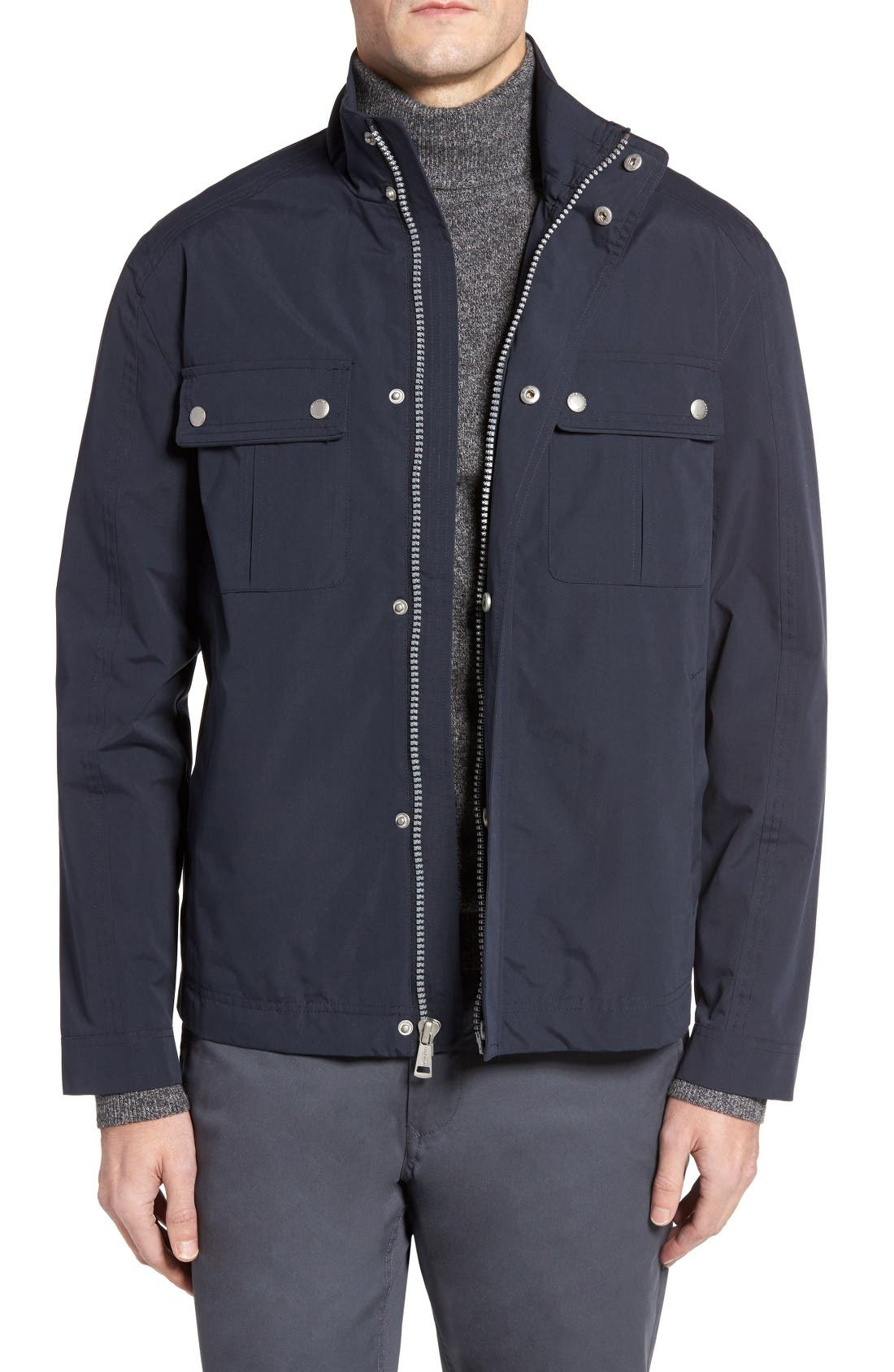Stand Collar Water Repellent Jacket,                         Main,                         color, Navy