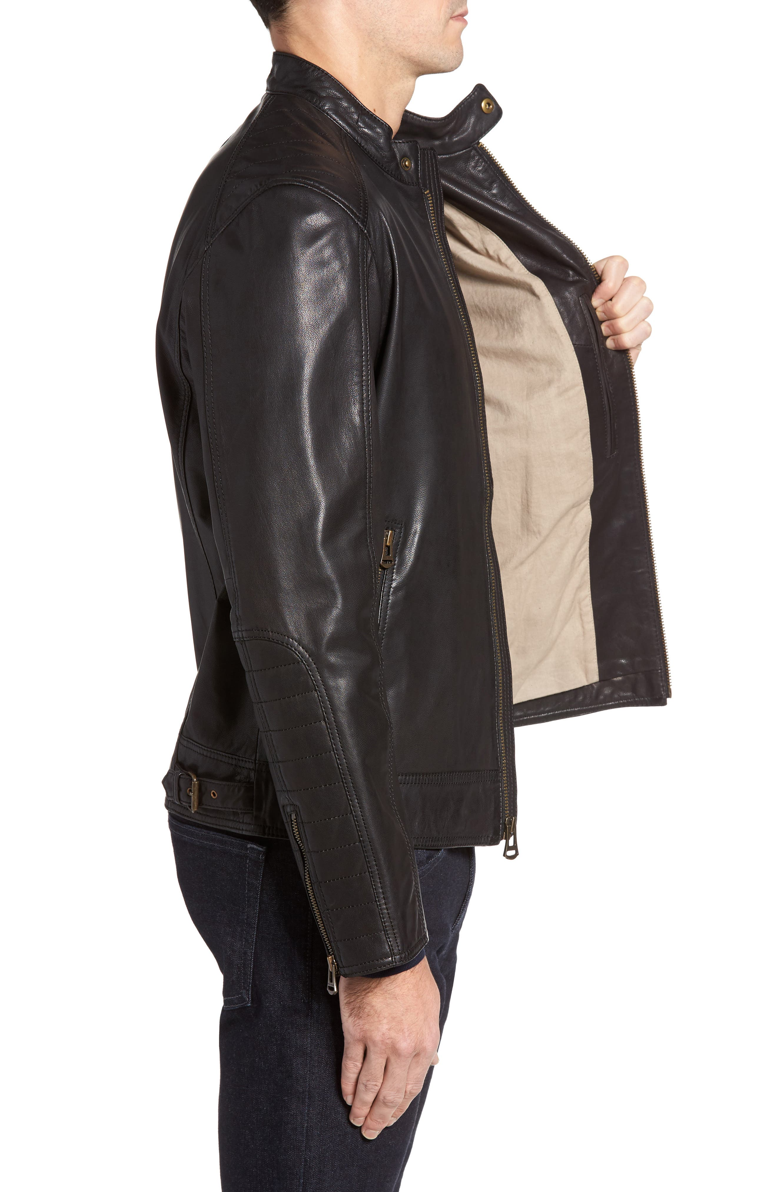 Alternate Image 3  - Cole Haan Washed Leather Moto Jacket
