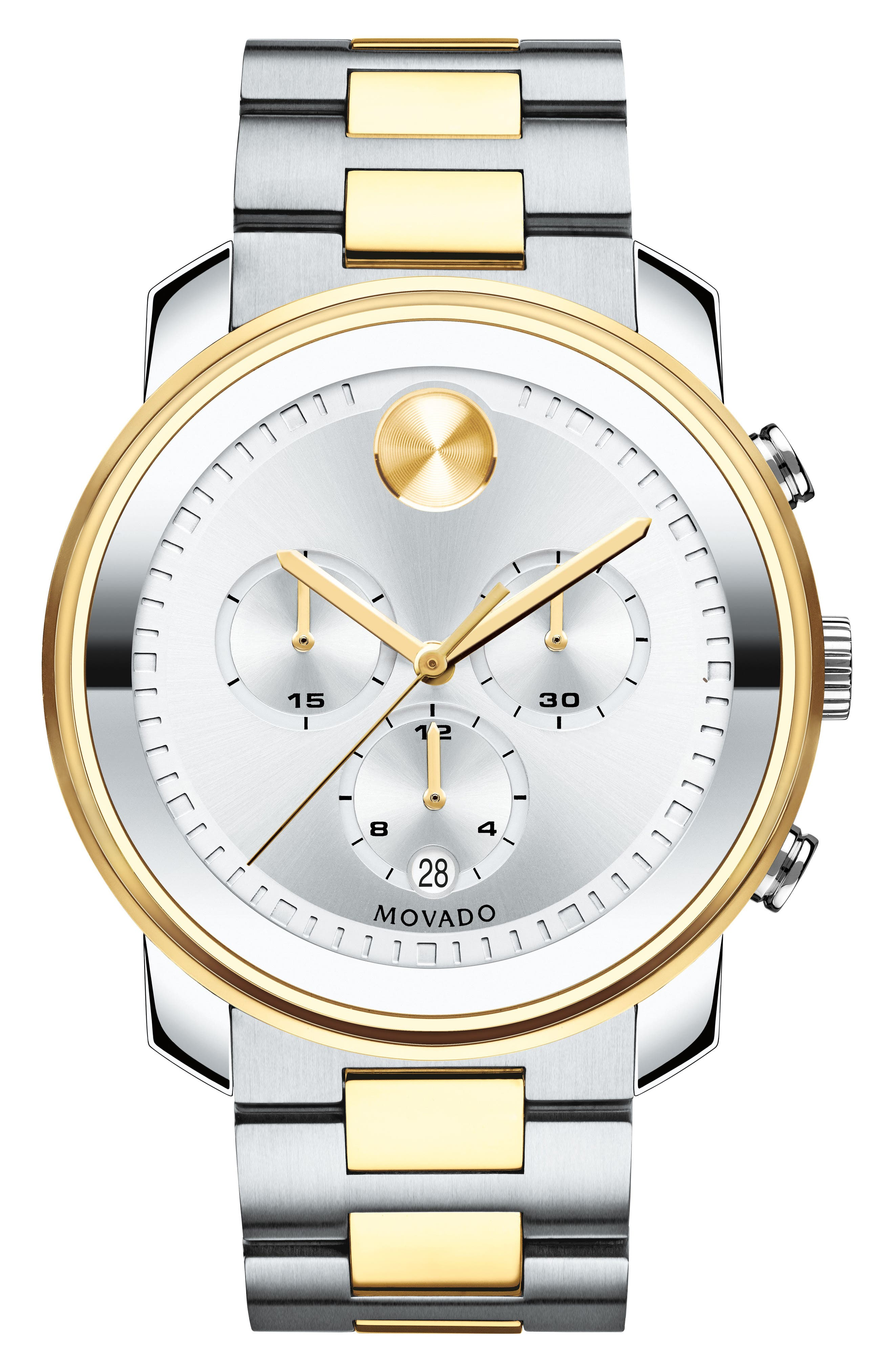 Bold Two Tone Chronograph Watch, 44mm,                         Main,                         color, Silver/ Gold