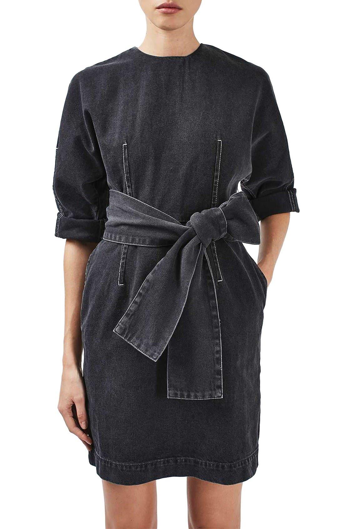 Main Image - Topshop Boutique Dome Denim Dress