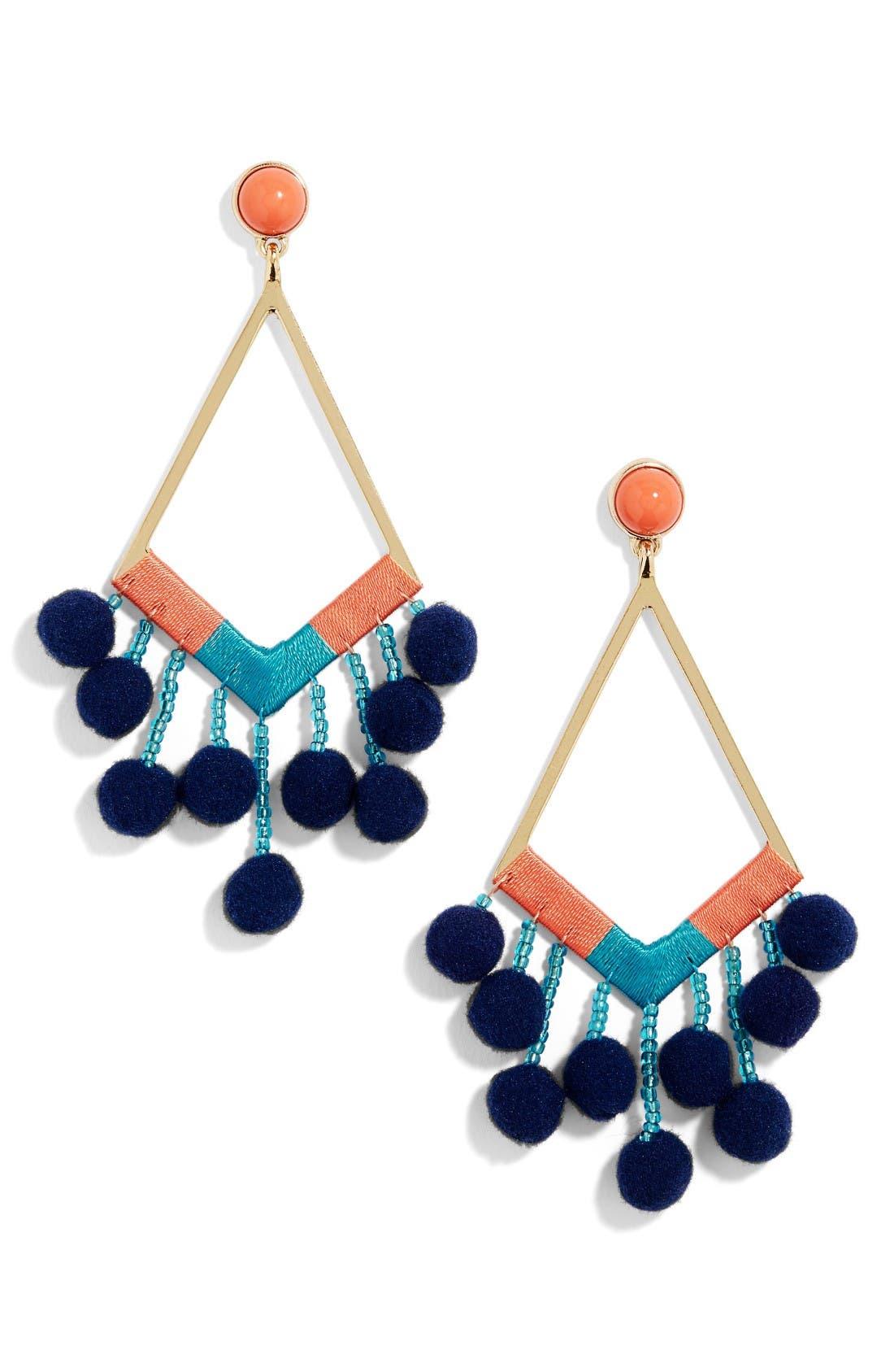 Geo Drop Earrings,                         Main,                         color, Orange