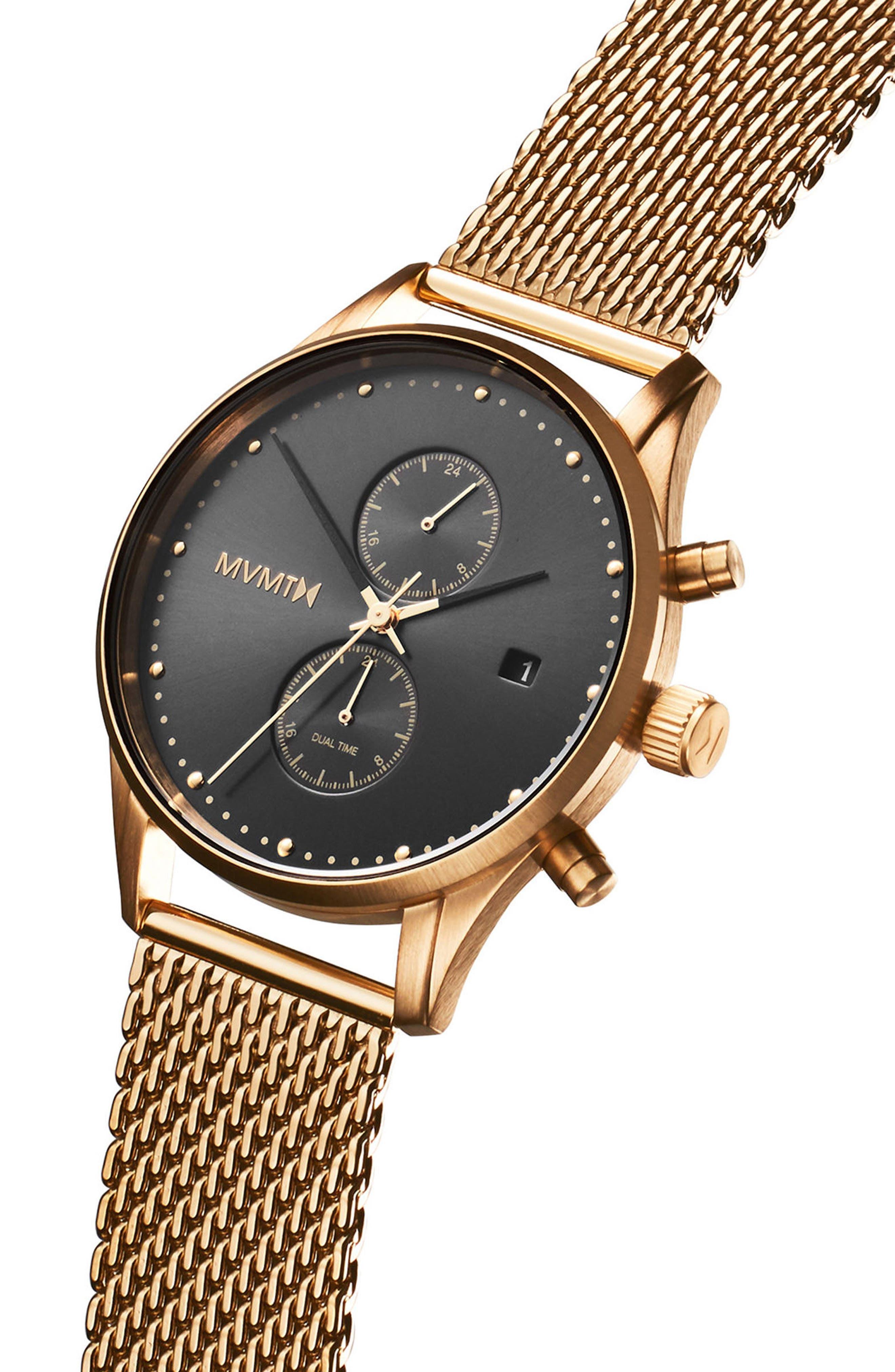 Voyager Chronograph Mesh Strap Watch, 42mm,                             Alternate thumbnail 3, color,                             Black/ Gold
