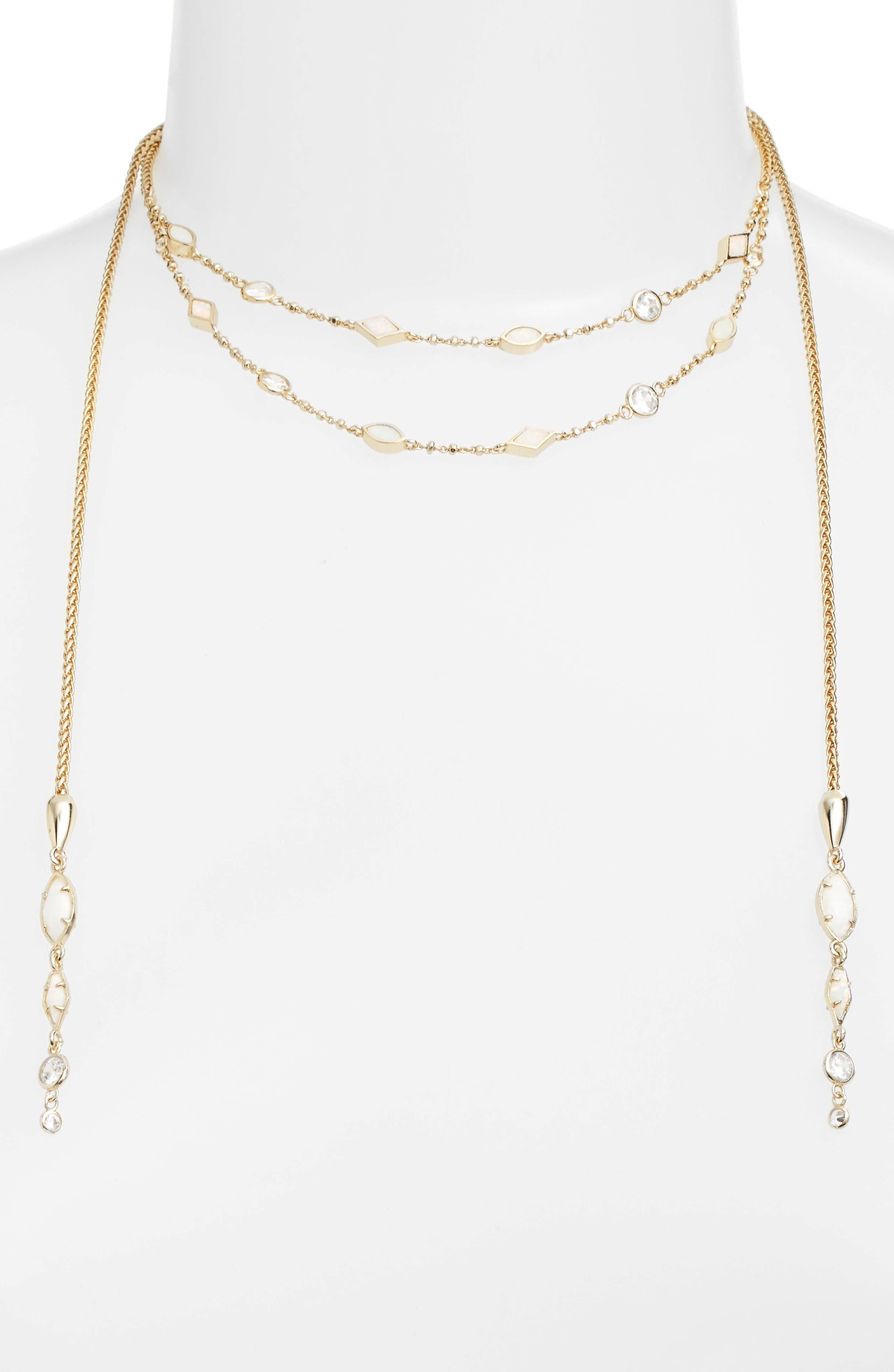 Emelina Wrap Necklace,                         Main,                         color, Ivory Zellige/ Gold