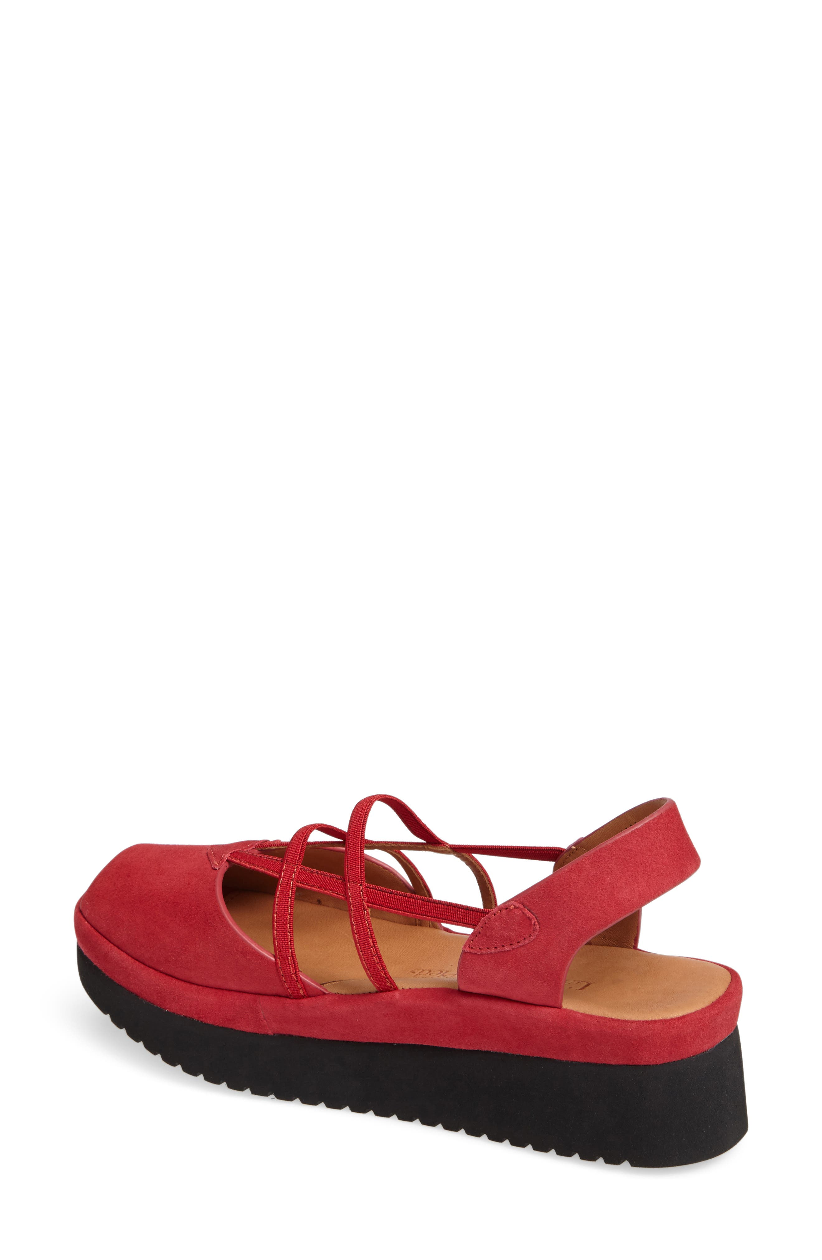 Adelais Platform Wedge Sandal,                             Alternate thumbnail 2, color,                             Red Nubuck Leather
