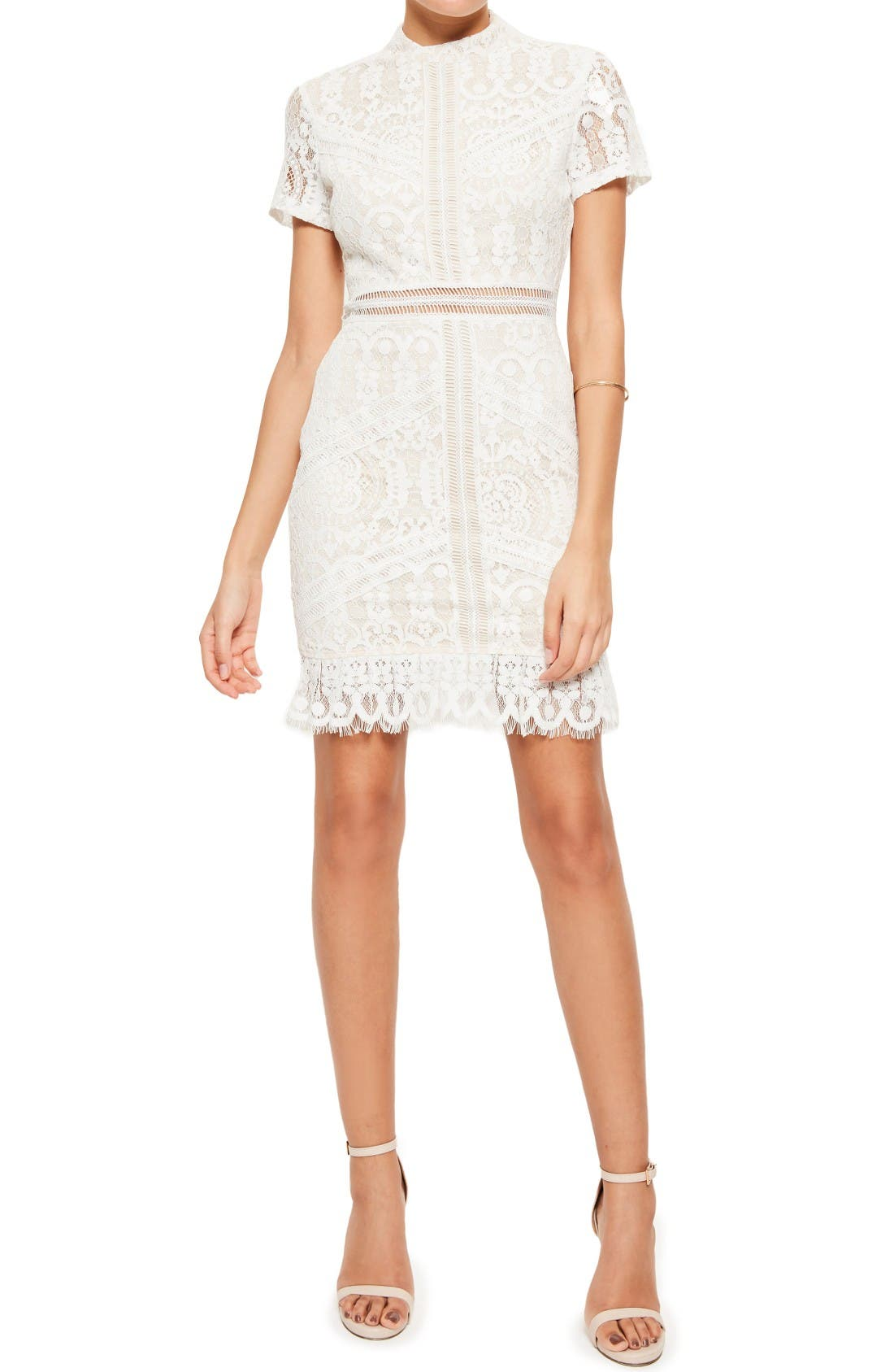 Ladder Stitch Lace Dress,                         Main,                         color, Cream